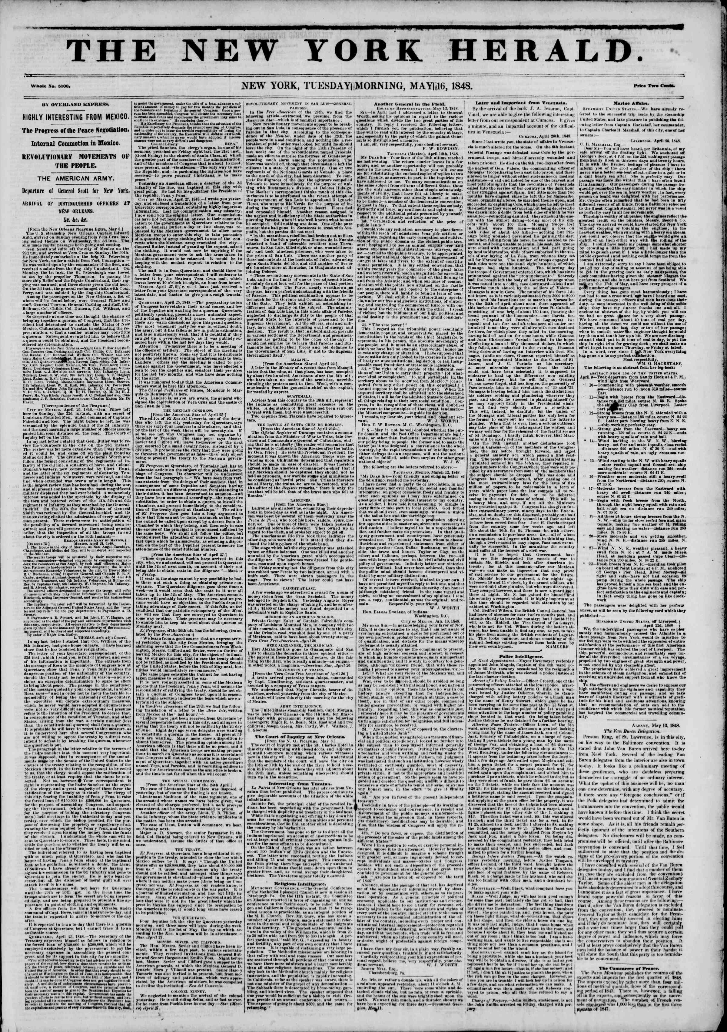 Newspaper of The New York Herald dated May 16, 1848 Page 1