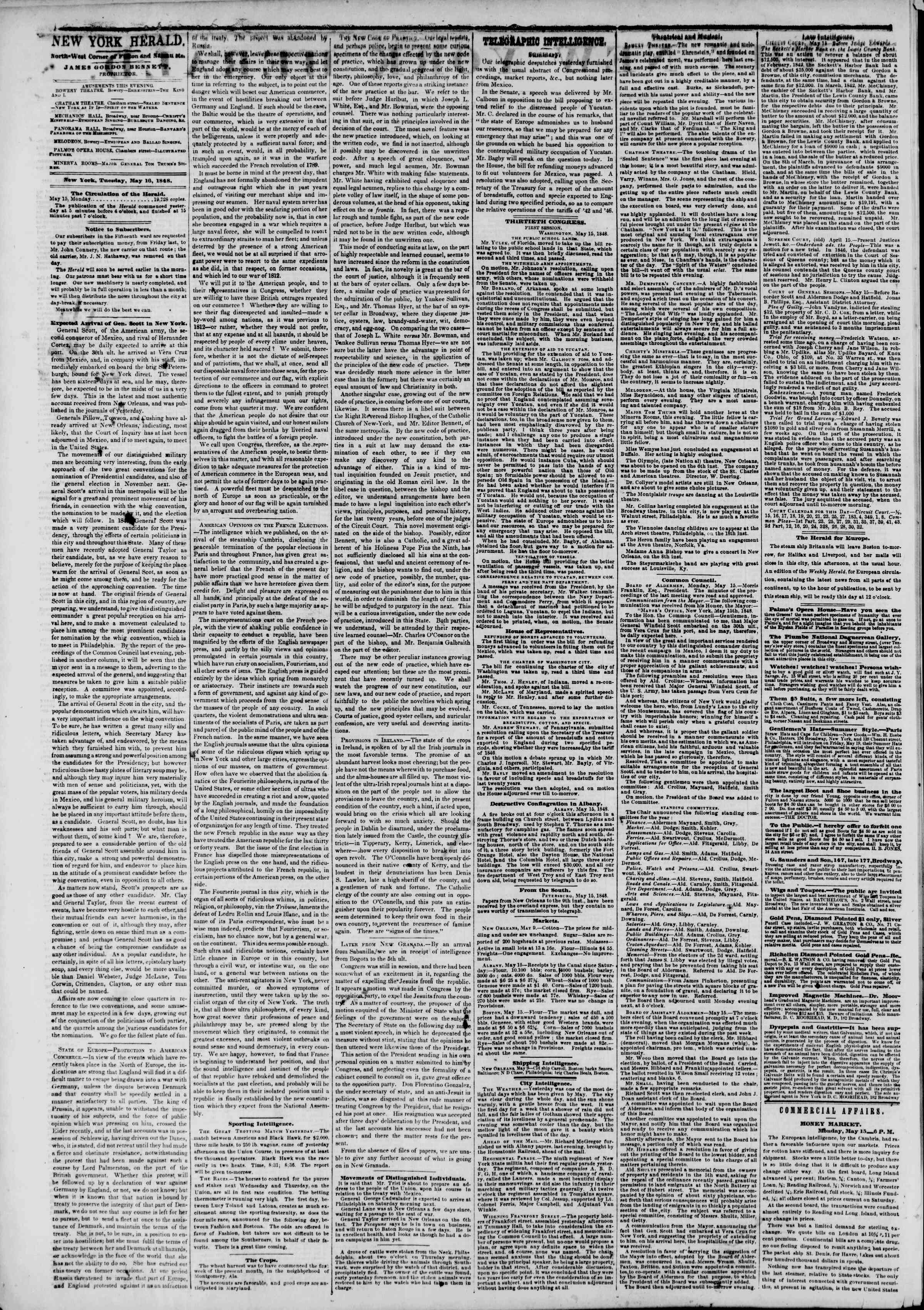 Newspaper of The New York Herald dated May 16, 1848 Page 2