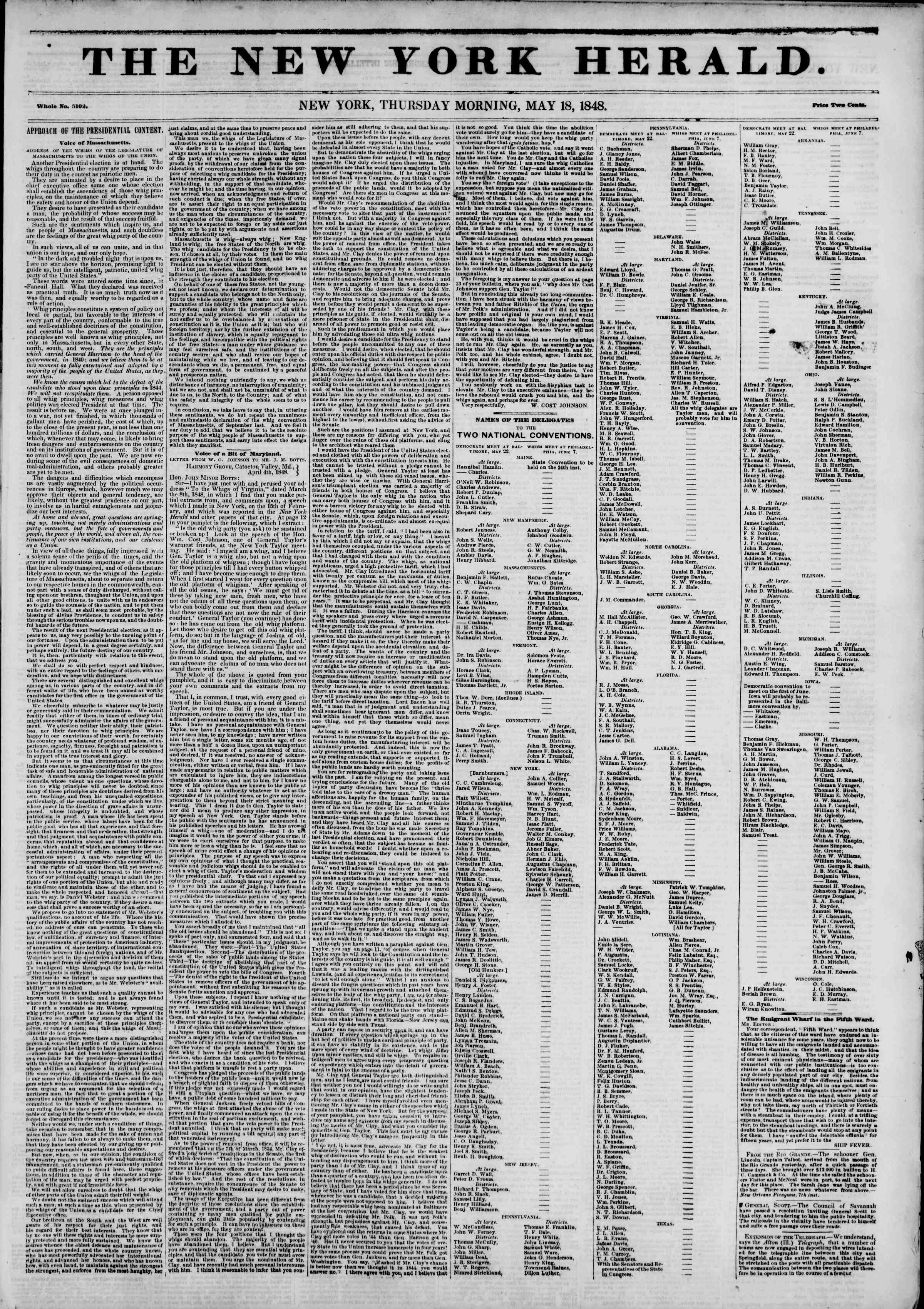Newspaper of The New York Herald dated May 18, 1848 Page 1