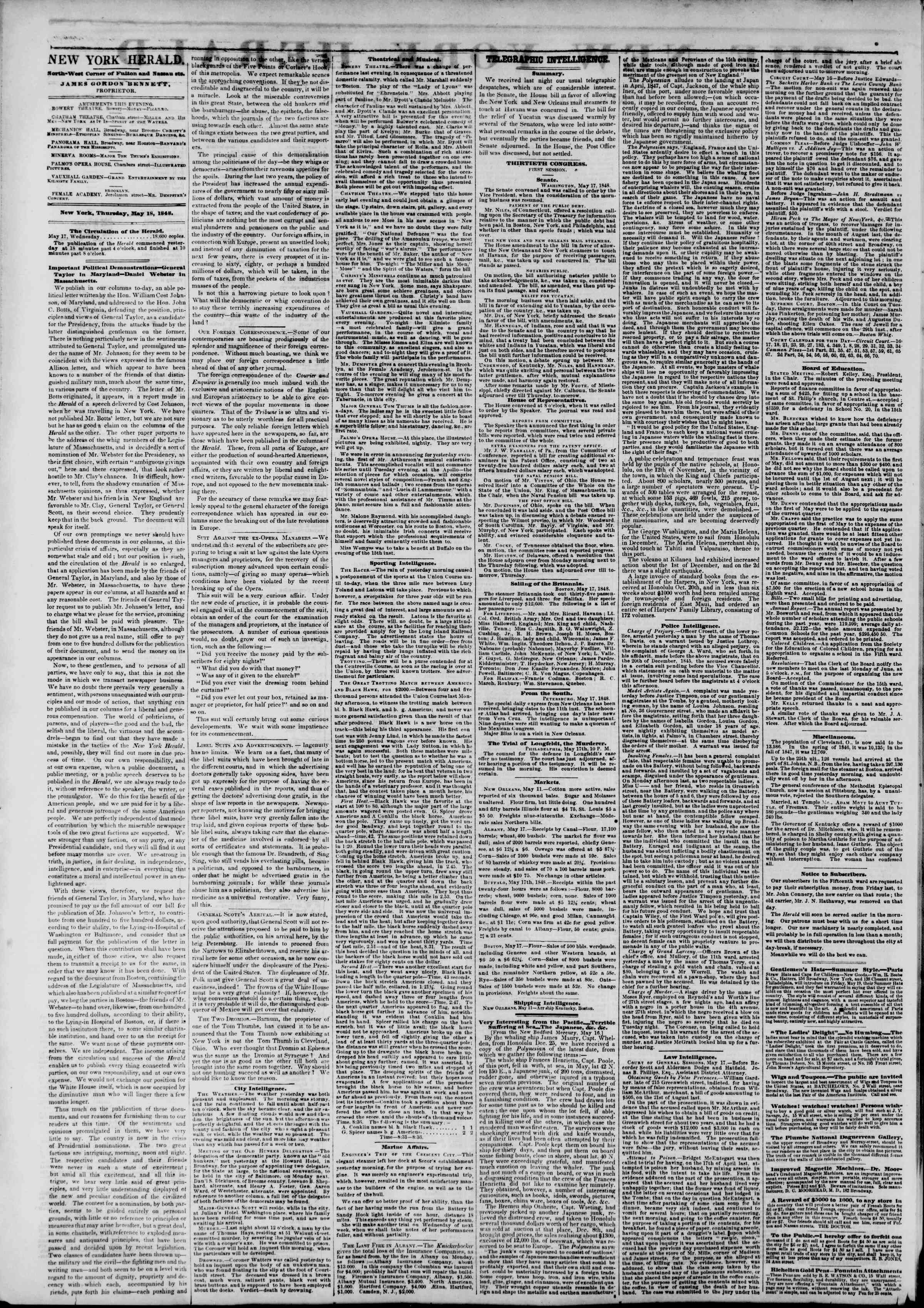 Newspaper of The New York Herald dated May 18, 1848 Page 2