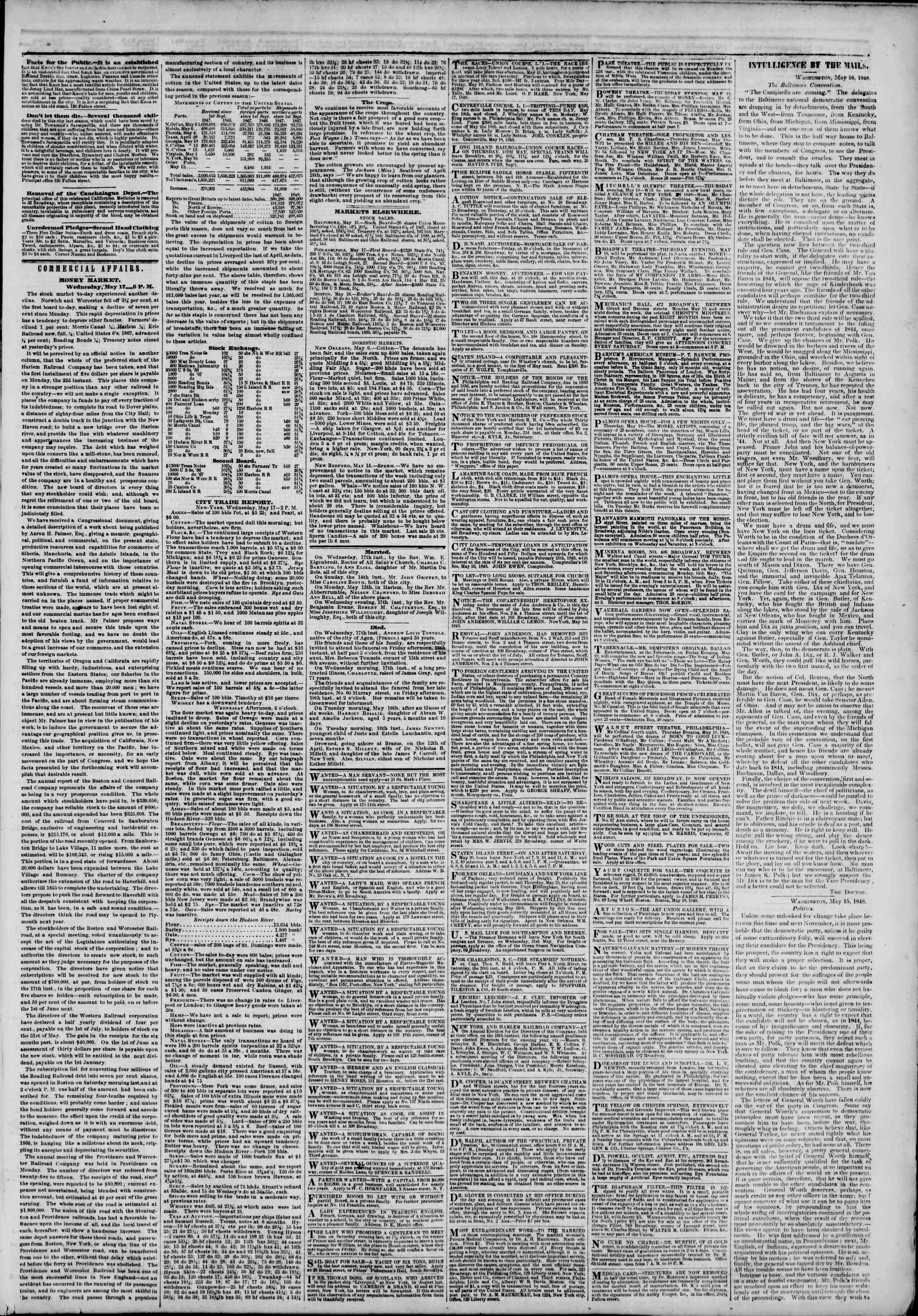 Newspaper of The New York Herald dated May 18, 1848 Page 3