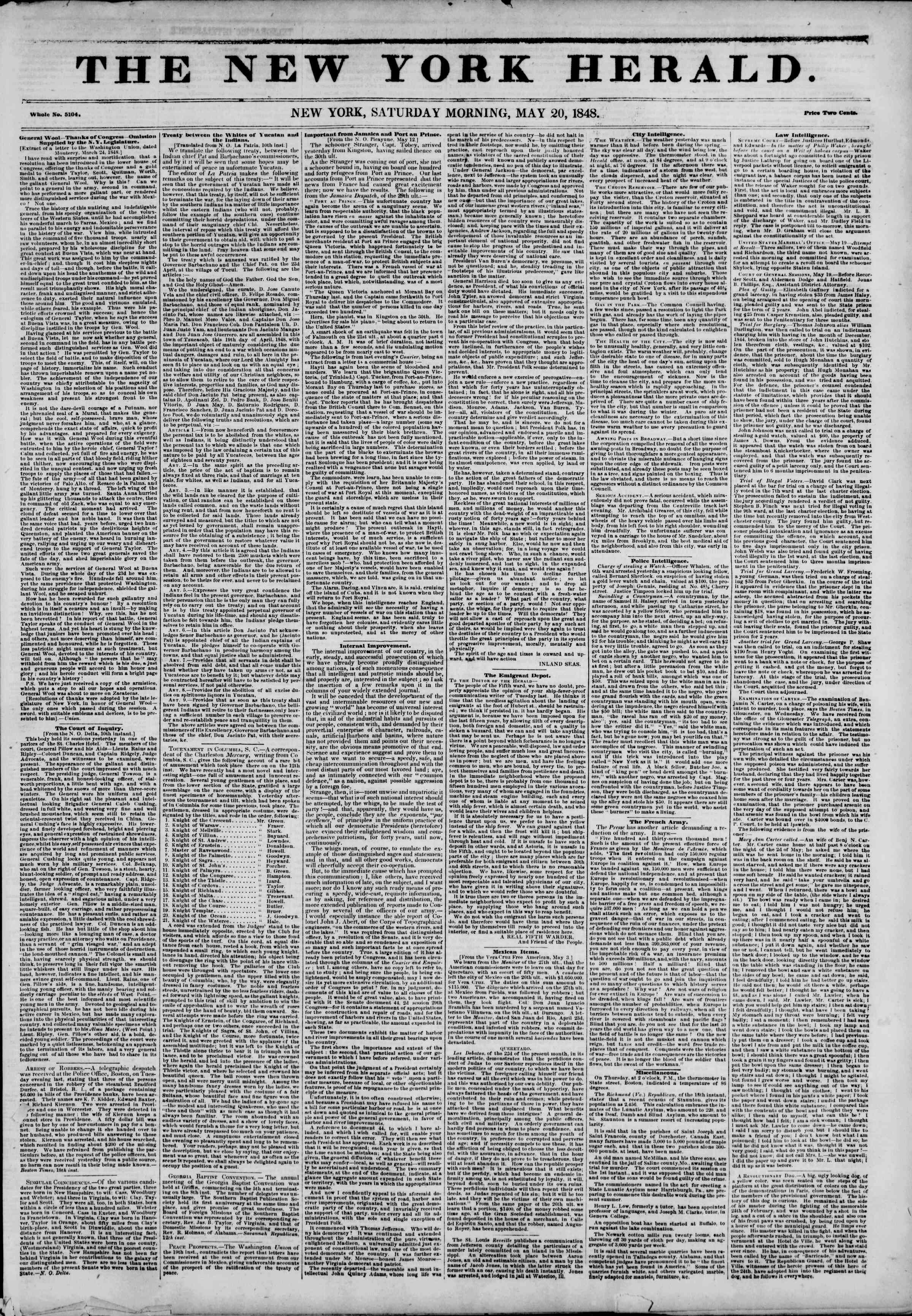 Newspaper of The New York Herald dated May 20, 1848 Page 1