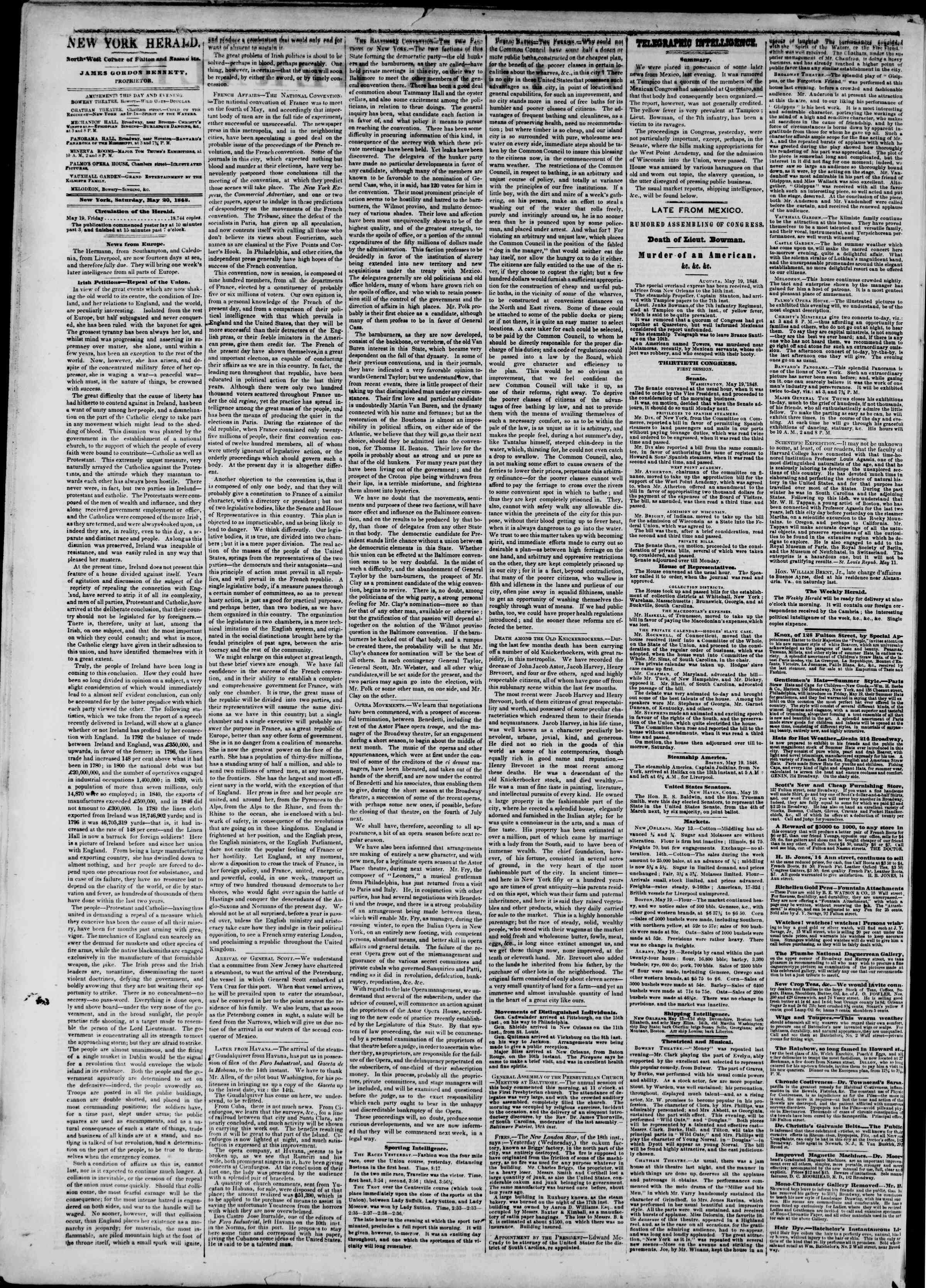 Newspaper of The New York Herald dated May 20, 1848 Page 2
