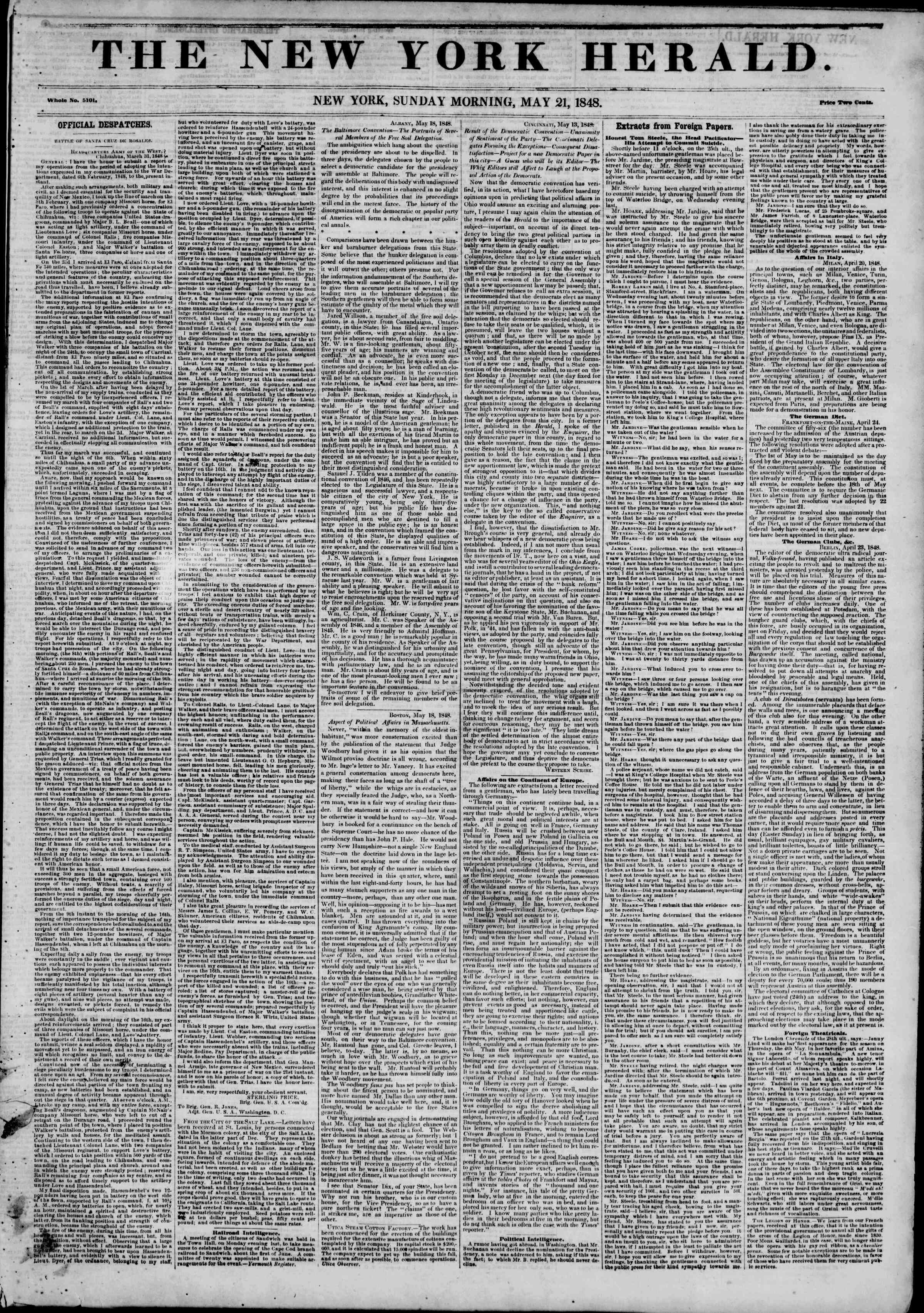 Newspaper of The New York Herald dated May 21, 1848 Page 1
