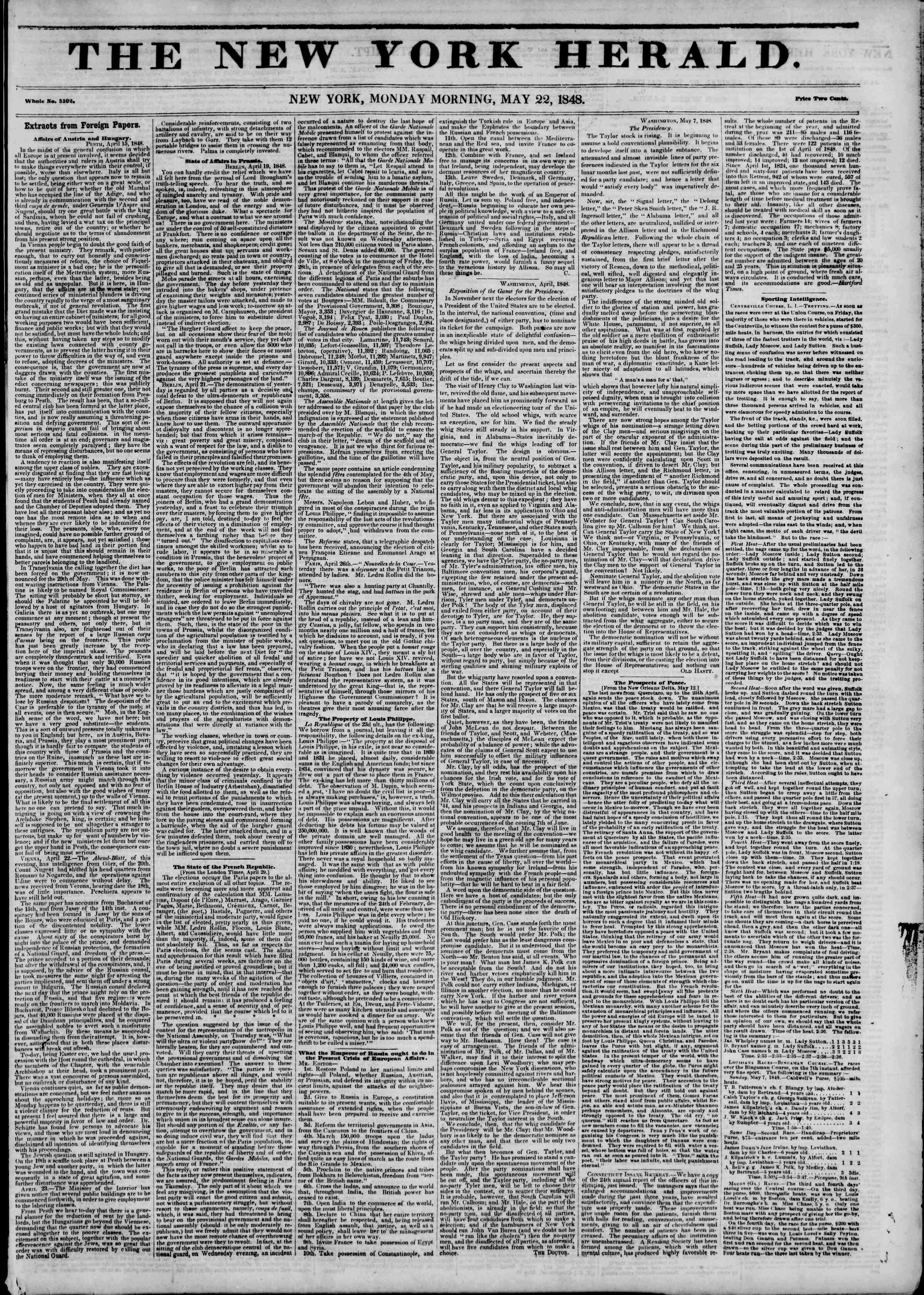 Newspaper of The New York Herald dated May 22, 1848 Page 1