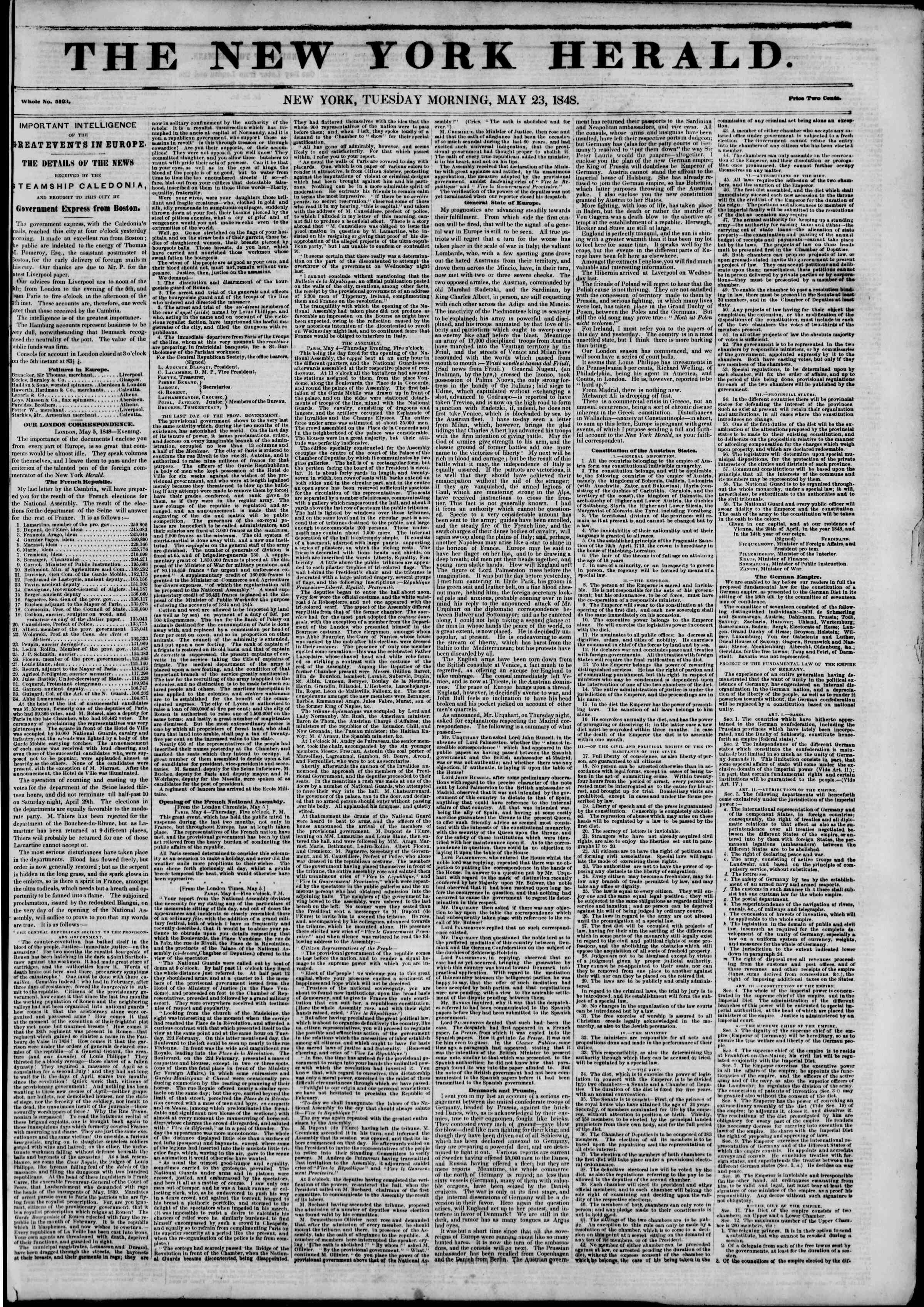 Newspaper of The New York Herald dated May 23, 1848 Page 1