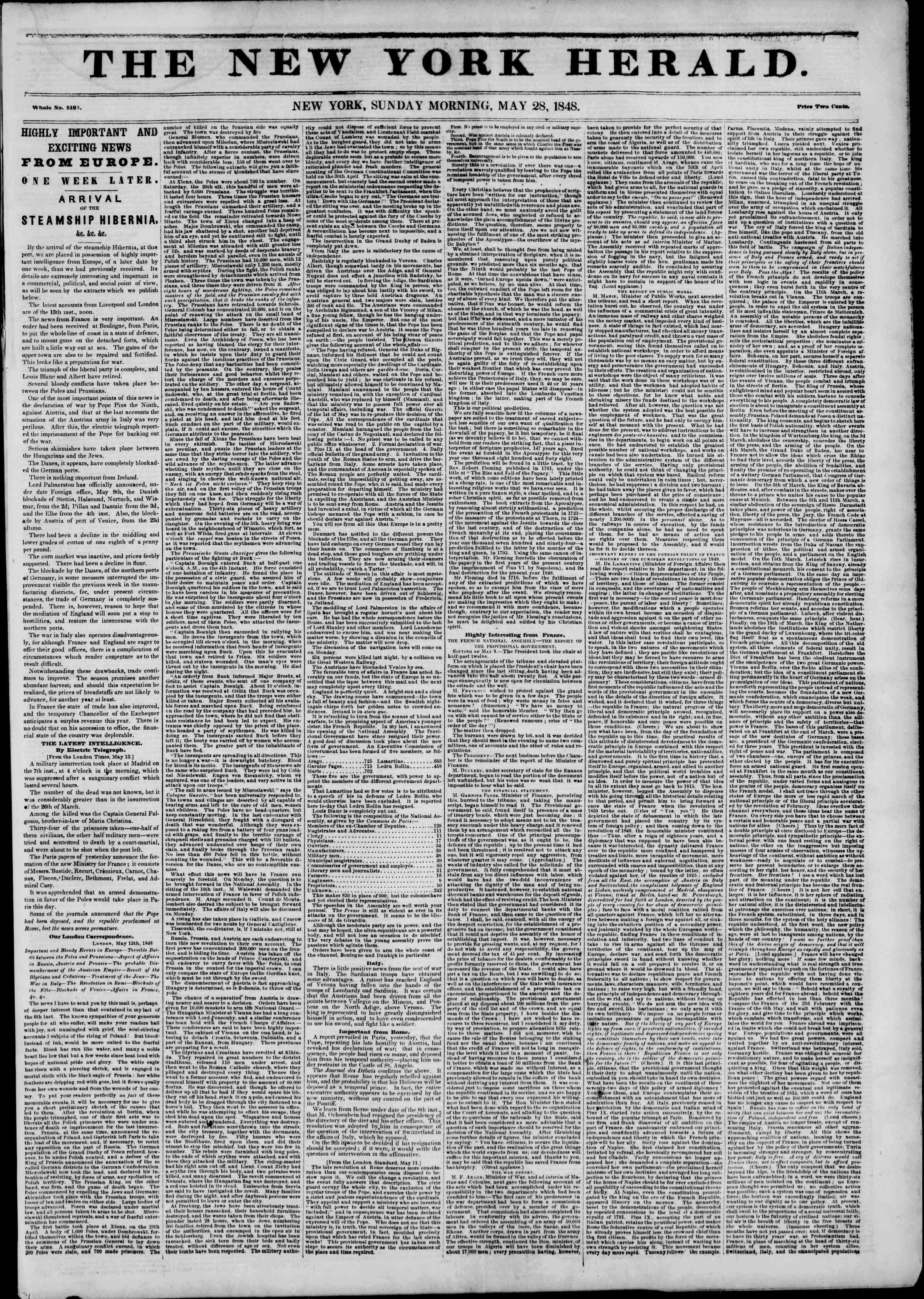 Newspaper of The New York Herald dated May 28, 1848 Page 1