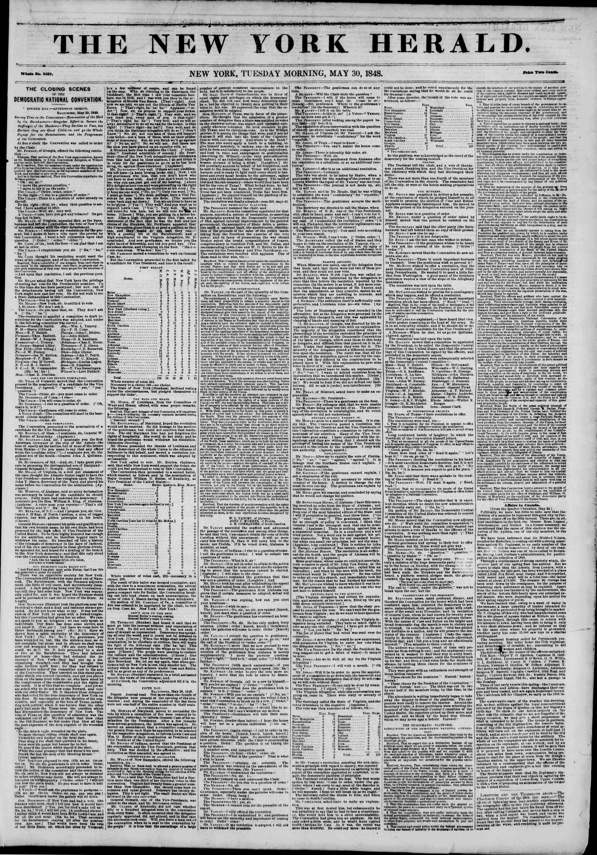 Newspaper of The New York Herald dated 30 Mayıs 1848 Page 1