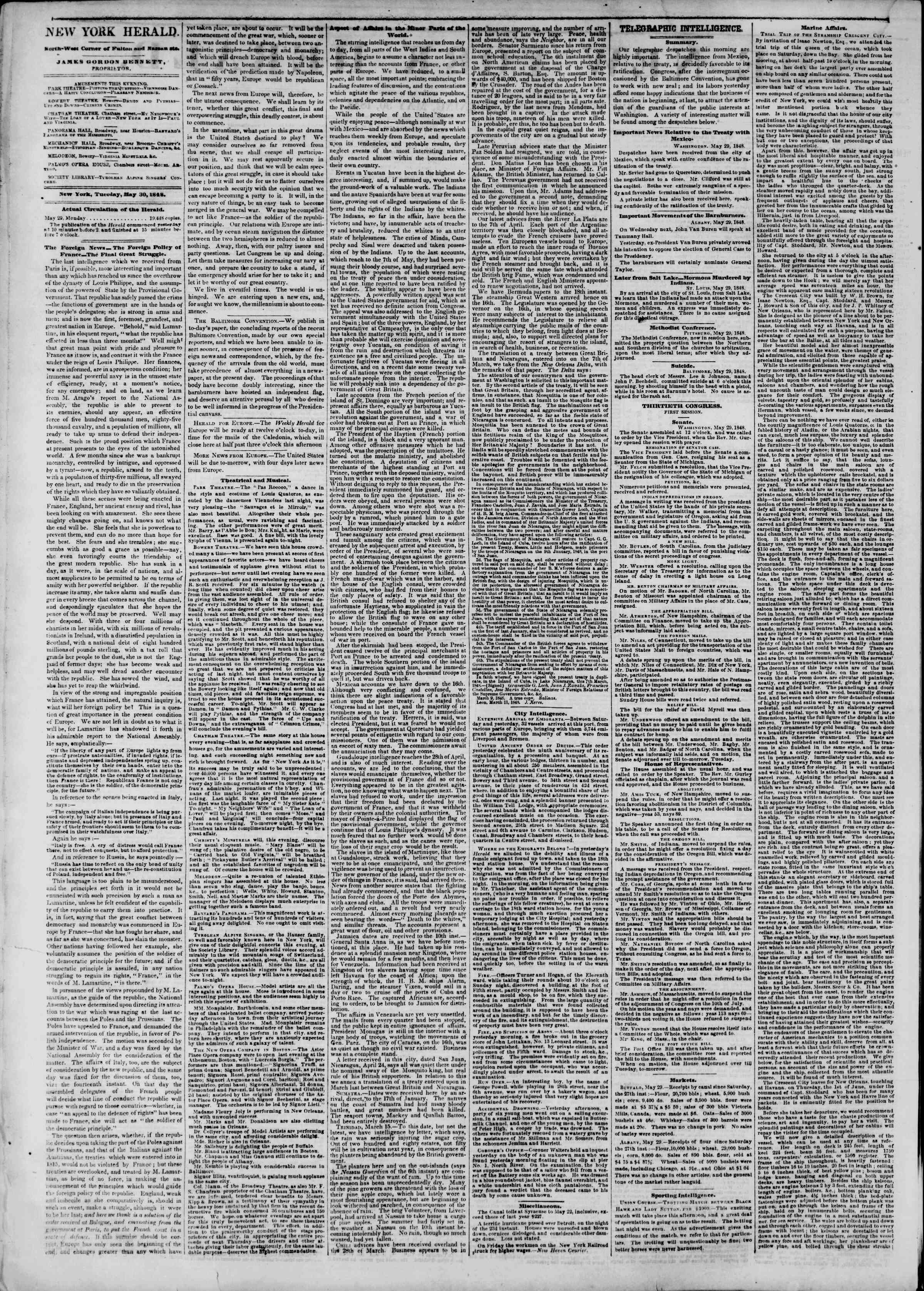 Newspaper of The New York Herald dated May 30, 1848 Page 2