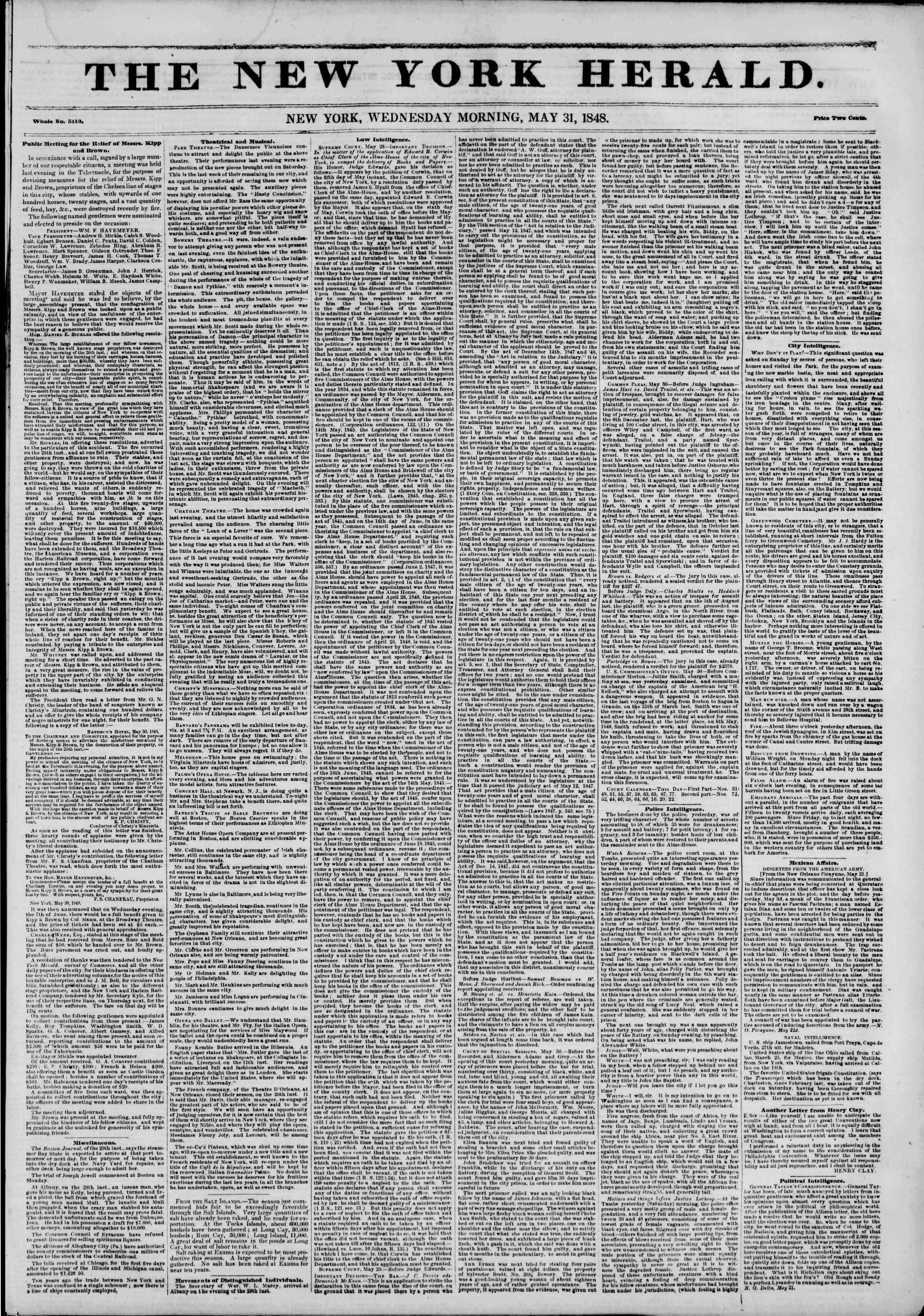 31 Mayıs 1848 tarihli The New York Herald Gazetesi Sayfa 1