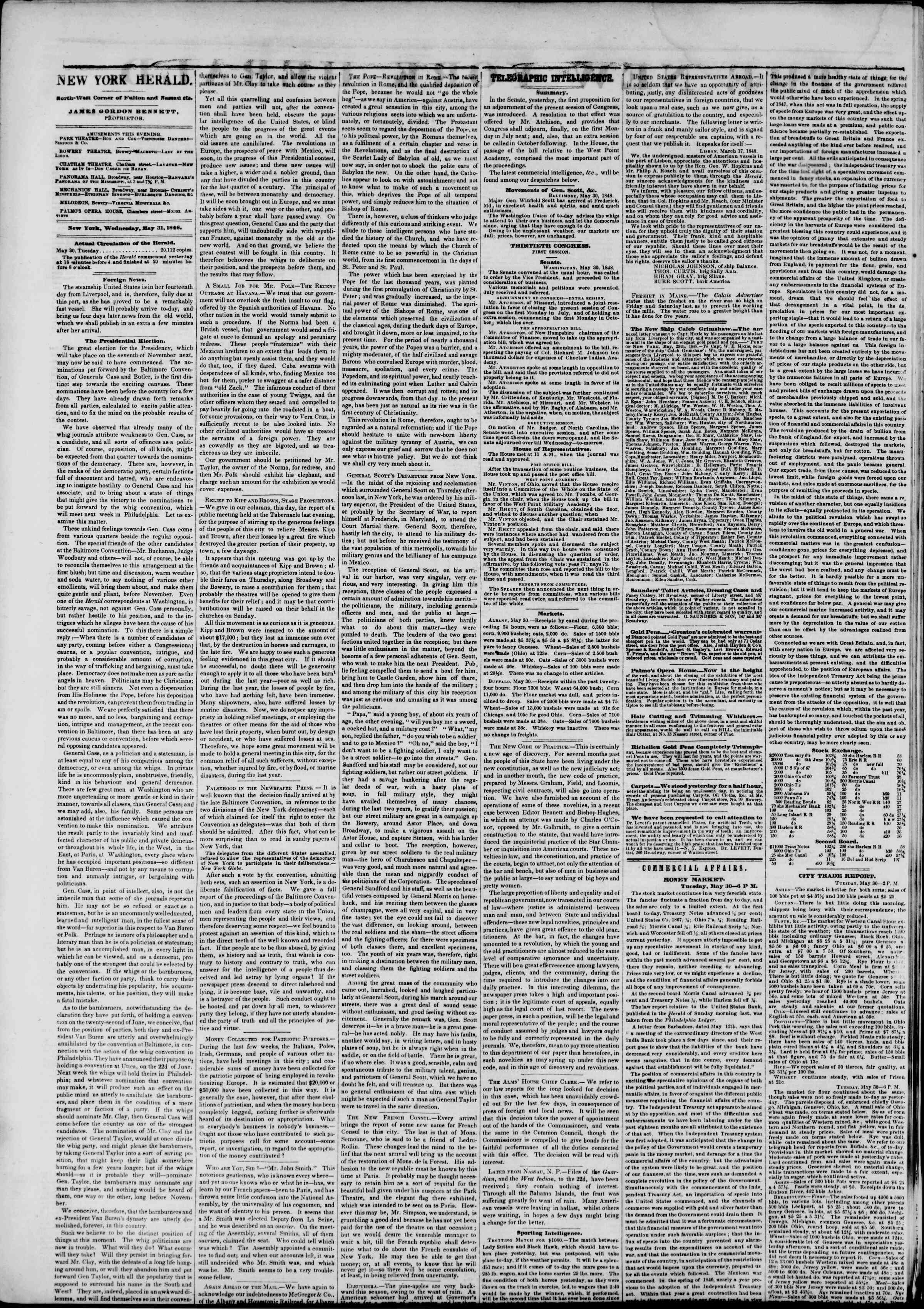 Newspaper of The New York Herald dated May 31, 1848 Page 2