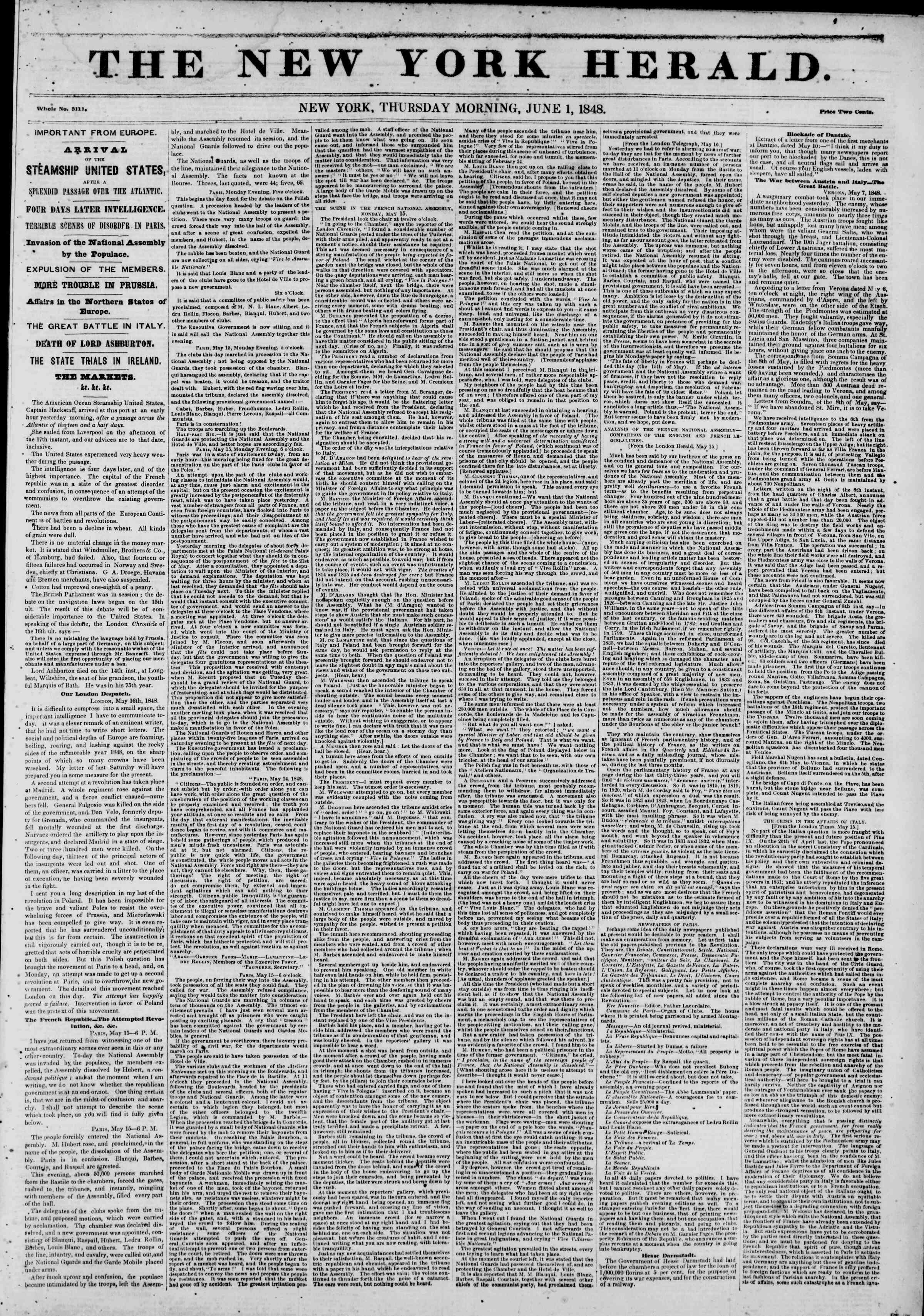 Newspaper of The New York Herald dated June 1, 1848 Page 1