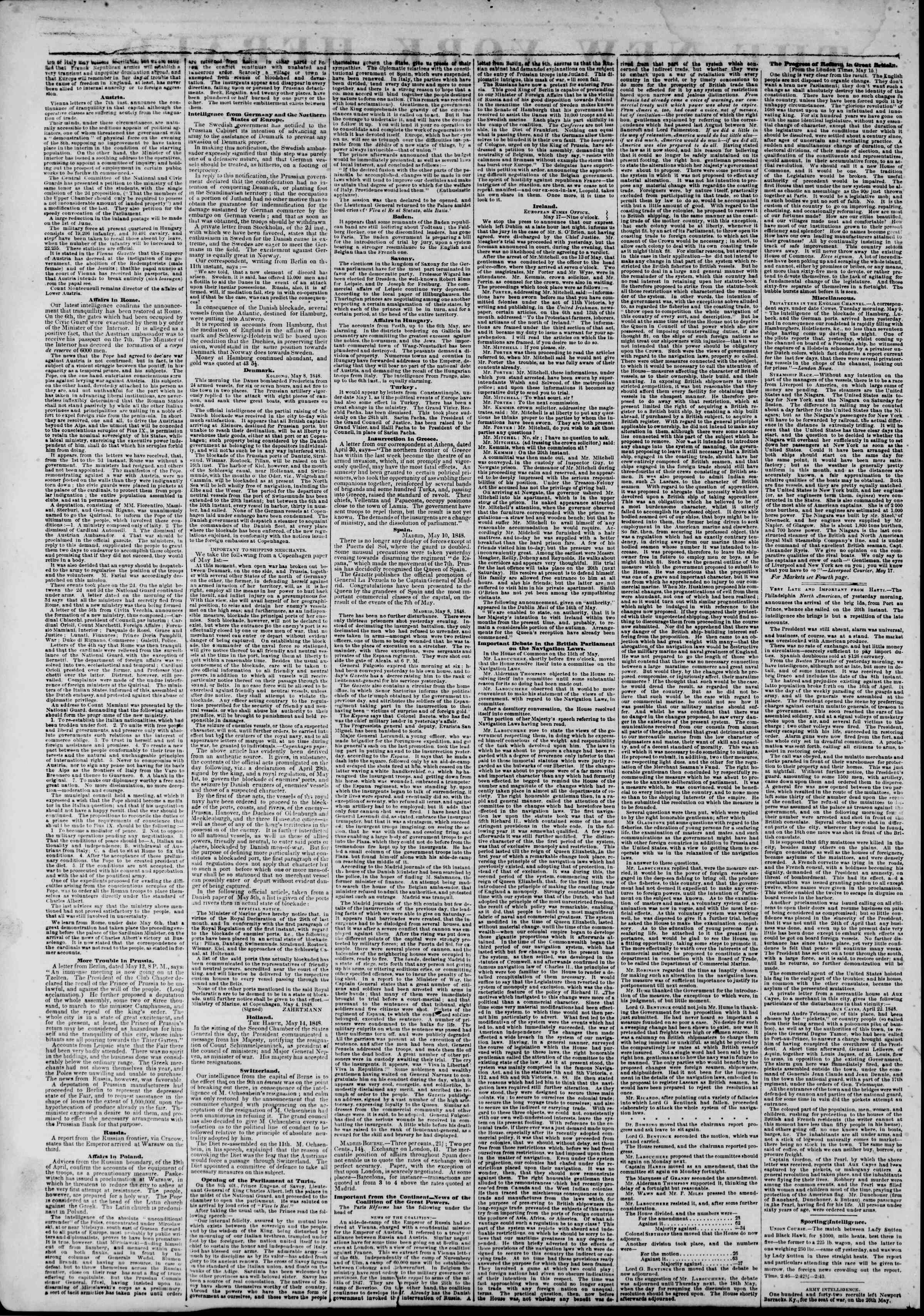 Newspaper of The New York Herald dated June 1, 1848 Page 2