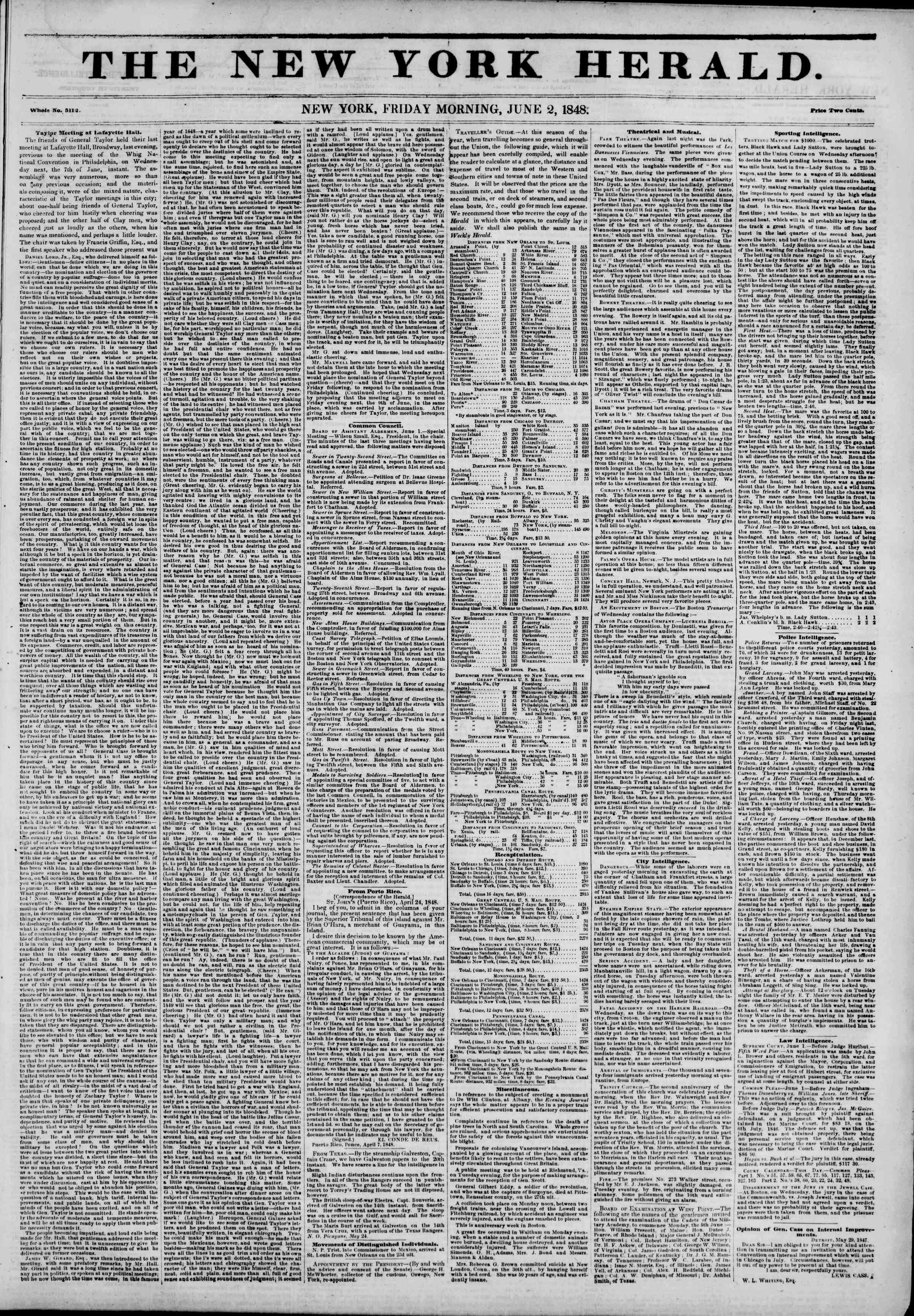 Newspaper of The New York Herald dated June 2, 1848 Page 1