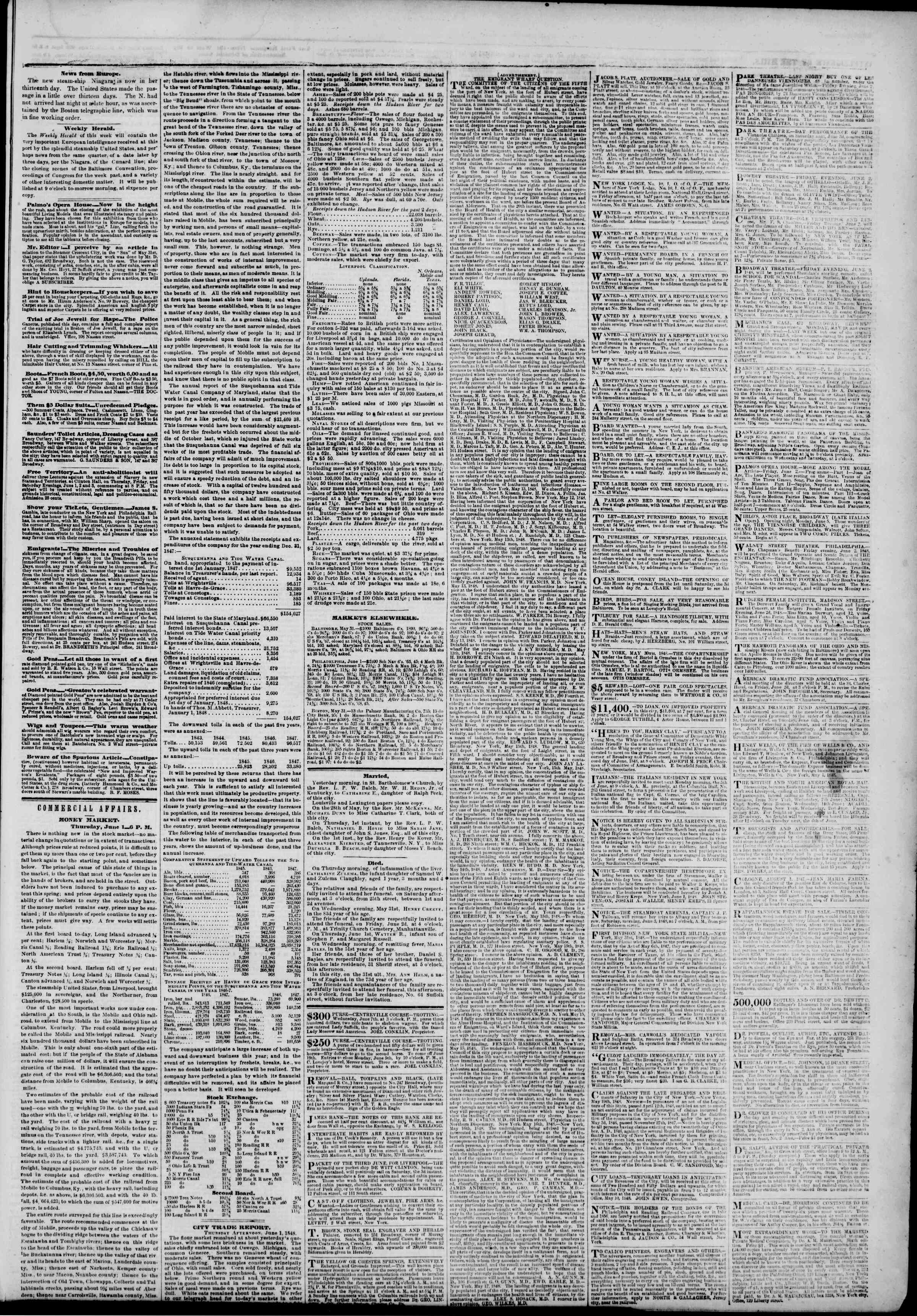 Newspaper of The New York Herald dated June 2, 1848 Page 3