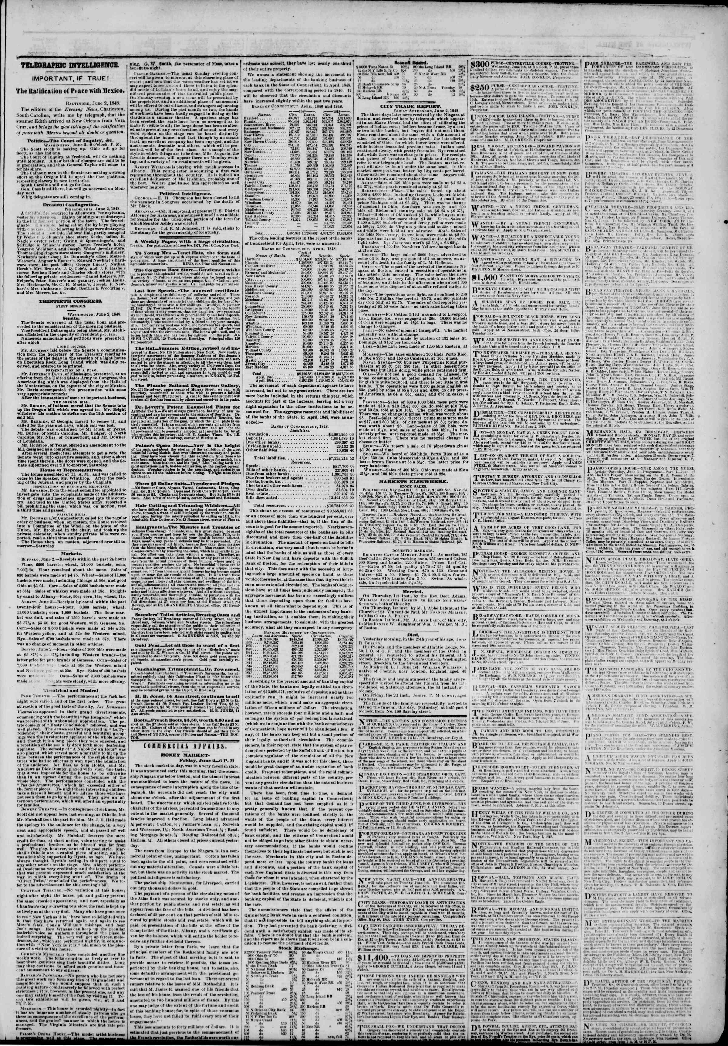 3 Haziran 1848 tarihli The New York Herald Gazetesi Sayfa 3
