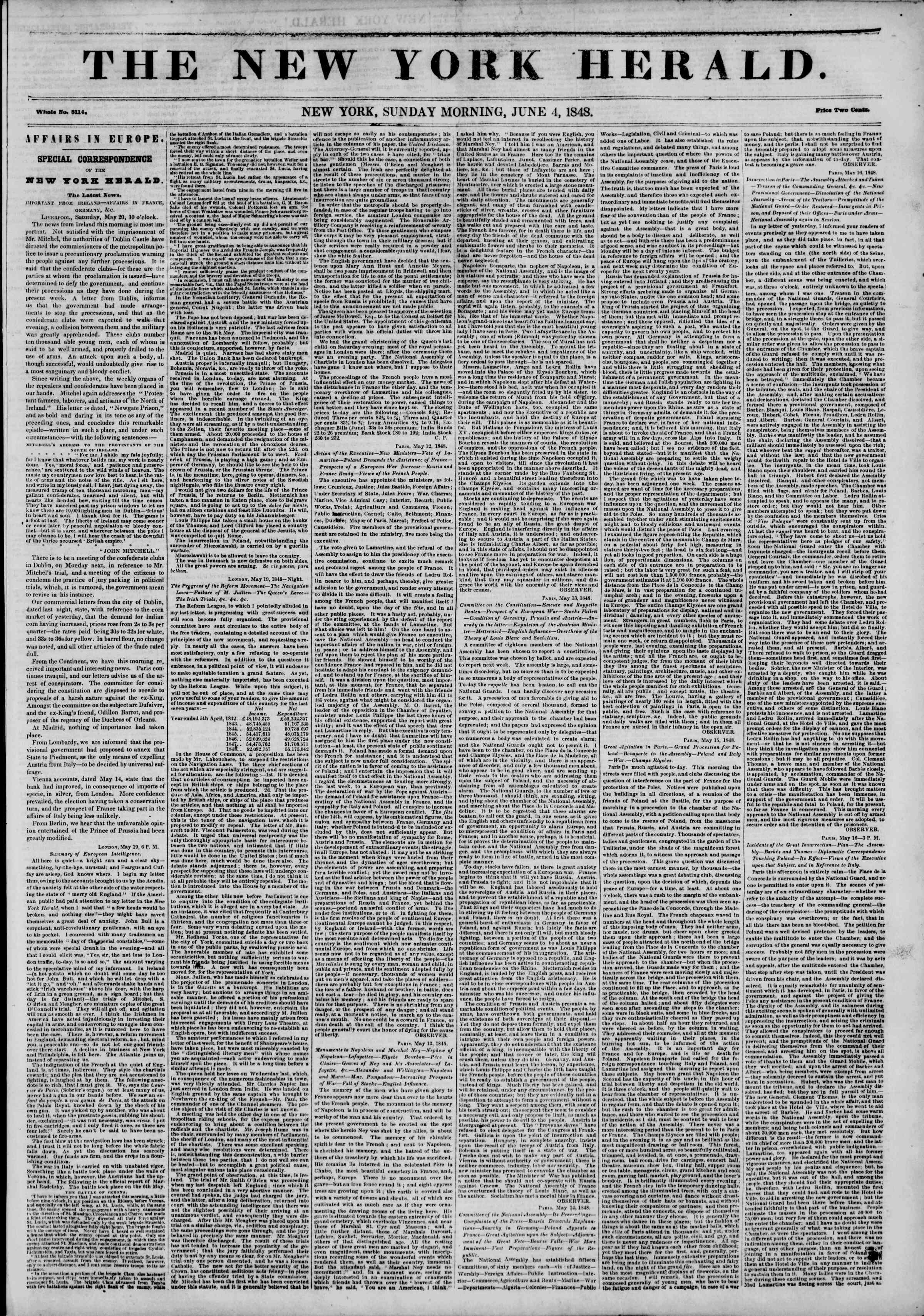 Newspaper of The New York Herald dated June 4, 1848 Page 1