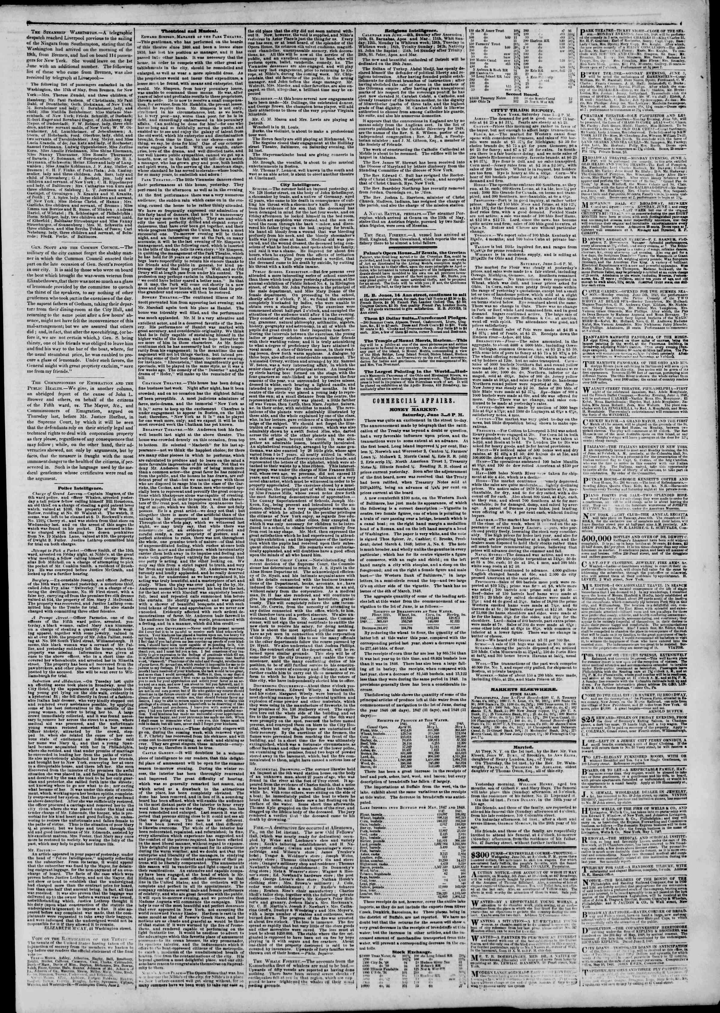 Newspaper of The New York Herald dated June 4, 1848 Page 3