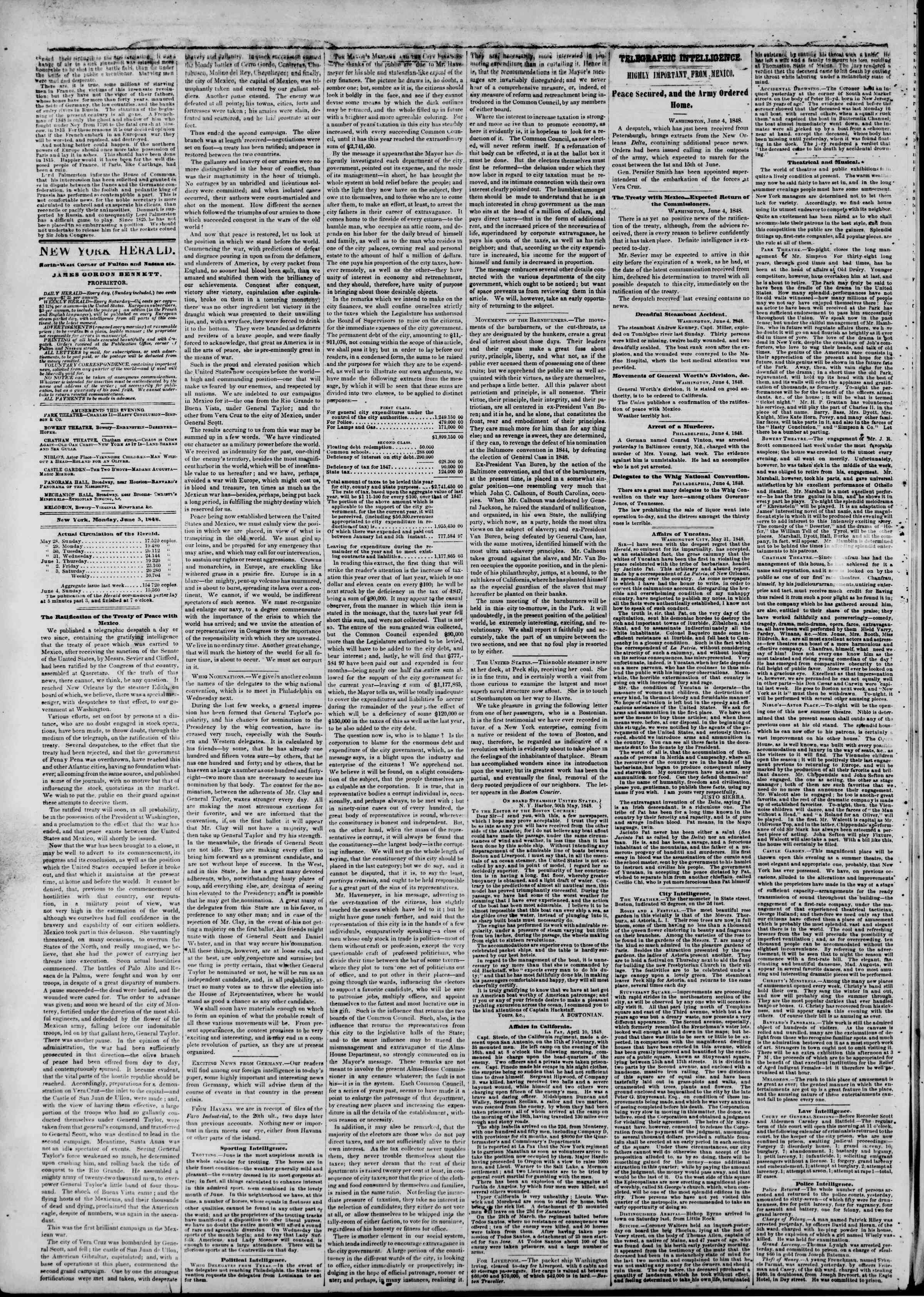 Newspaper of The New York Herald dated June 5, 1848 Page 2