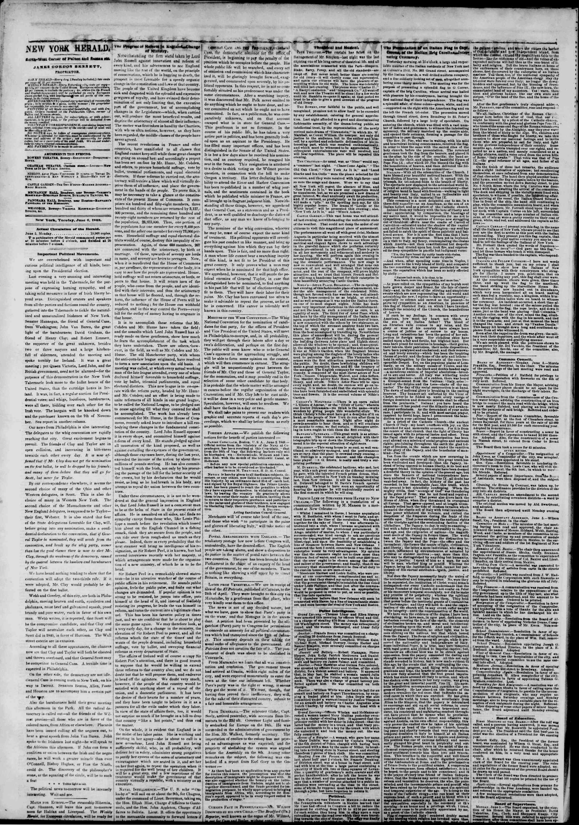 Newspaper of The New York Herald dated June 6, 1848 Page 2