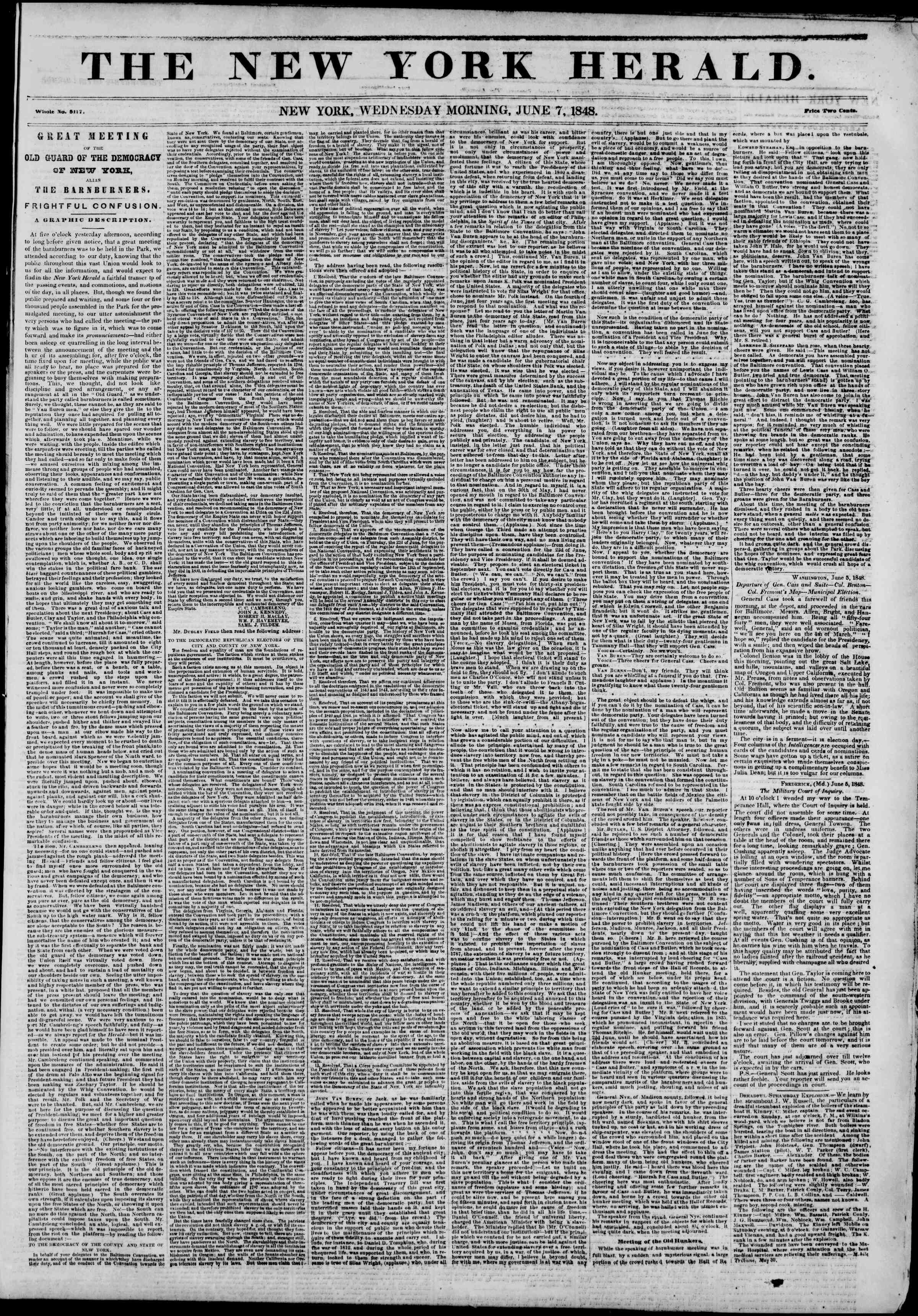 Newspaper of The New York Herald dated June 7, 1848 Page 1