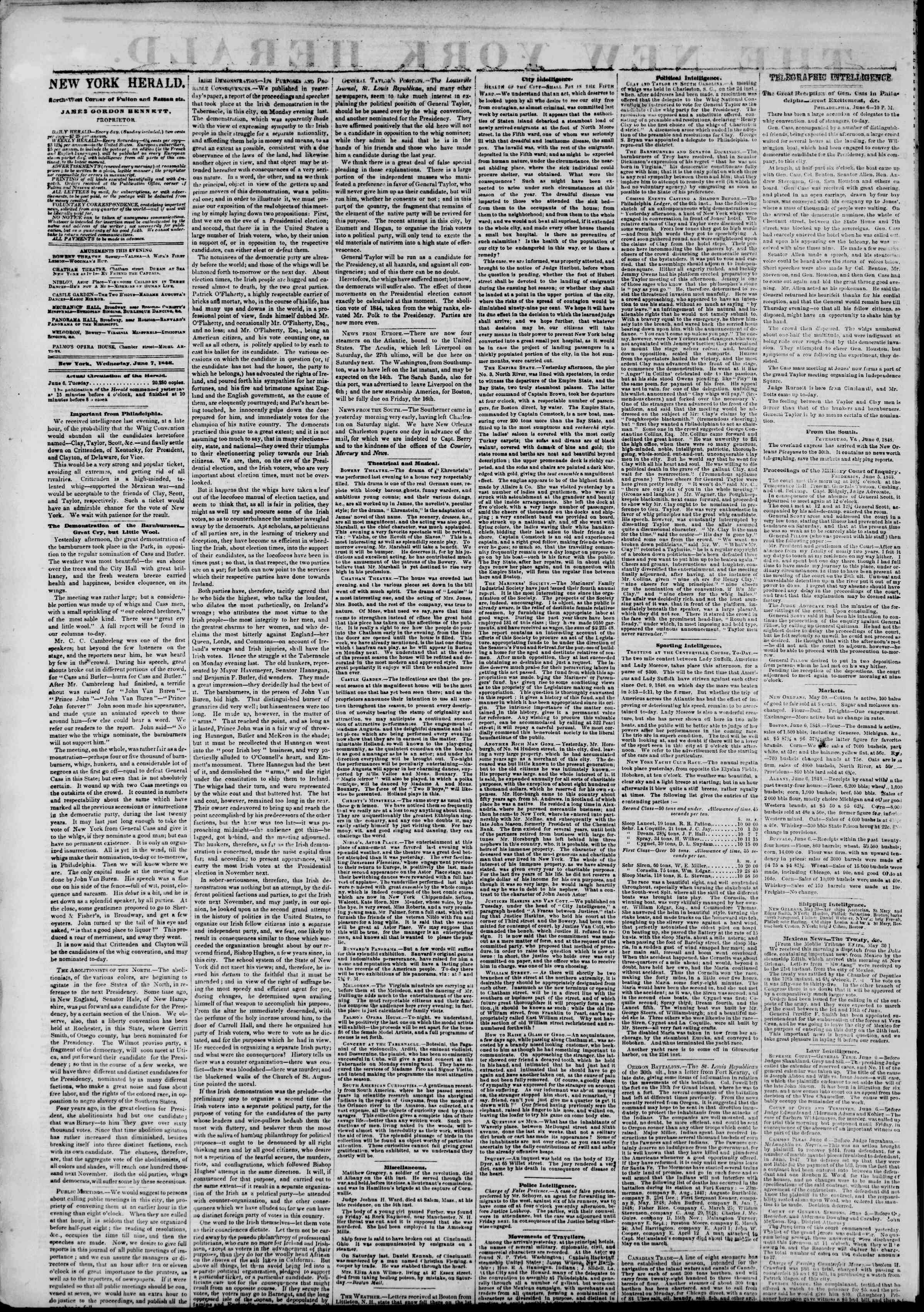 Newspaper of The New York Herald dated June 7, 1848 Page 2
