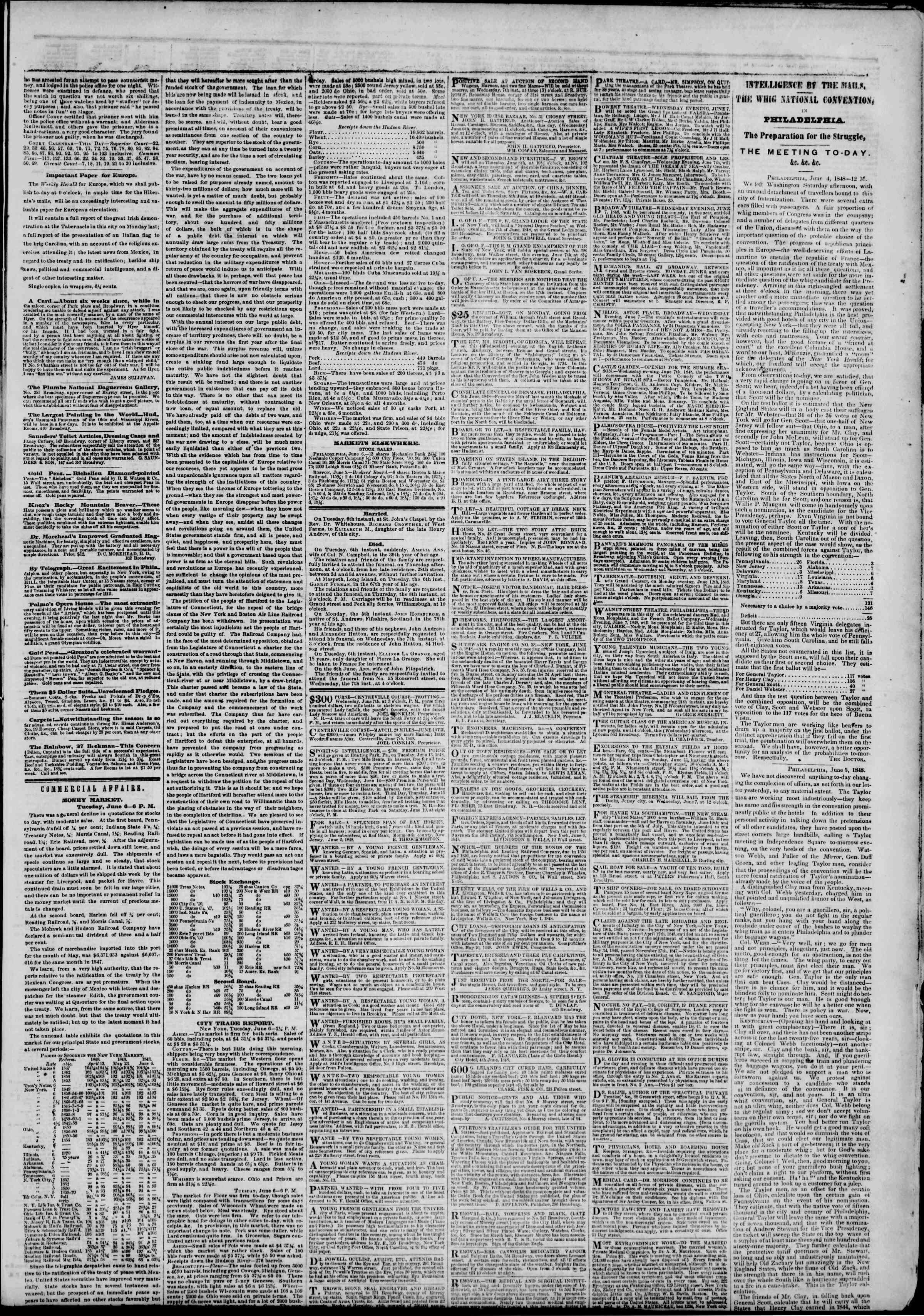 Newspaper of The New York Herald dated June 7, 1848 Page 3