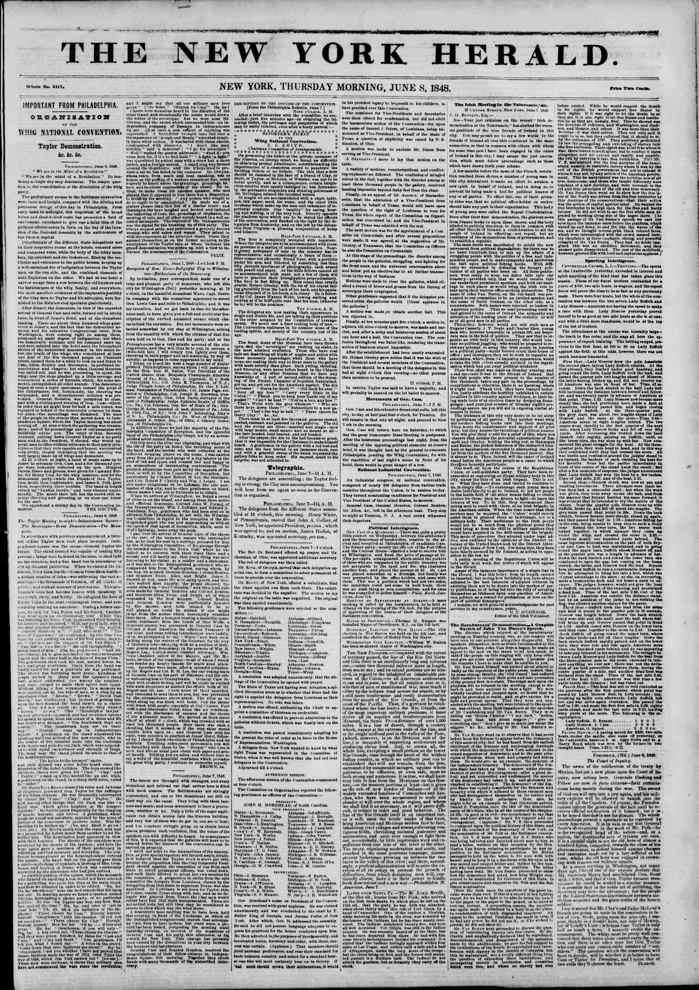 Newspaper of The New York Herald dated June 8, 1848 Page 1