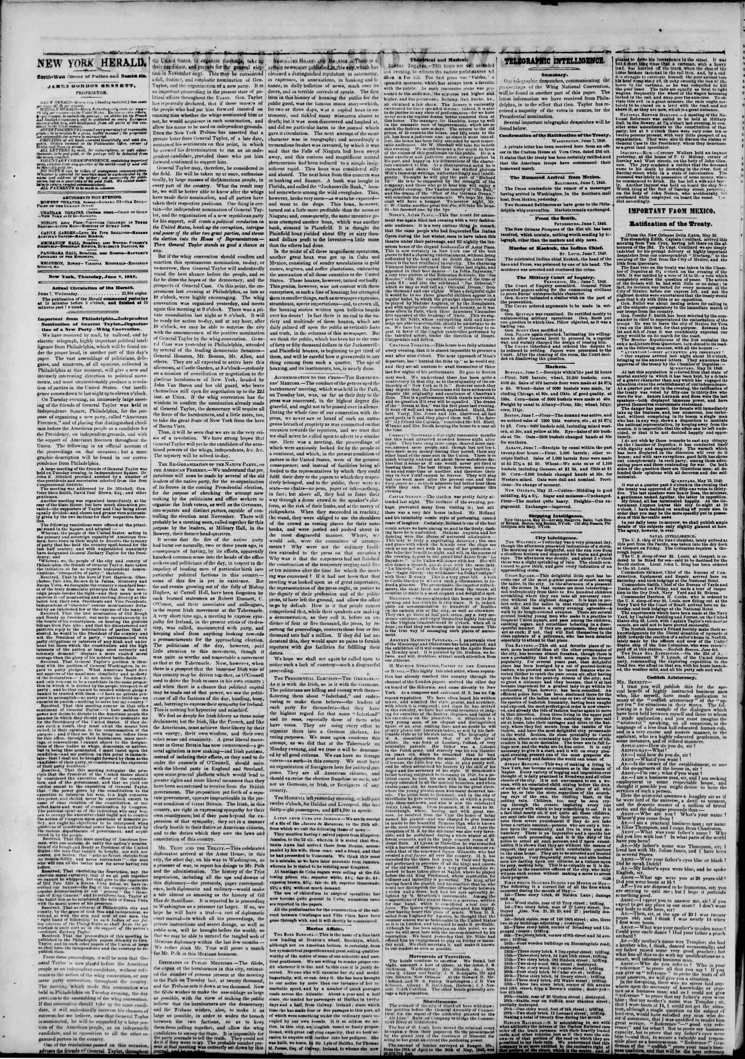 Newspaper of The New York Herald dated June 8, 1848 Page 2