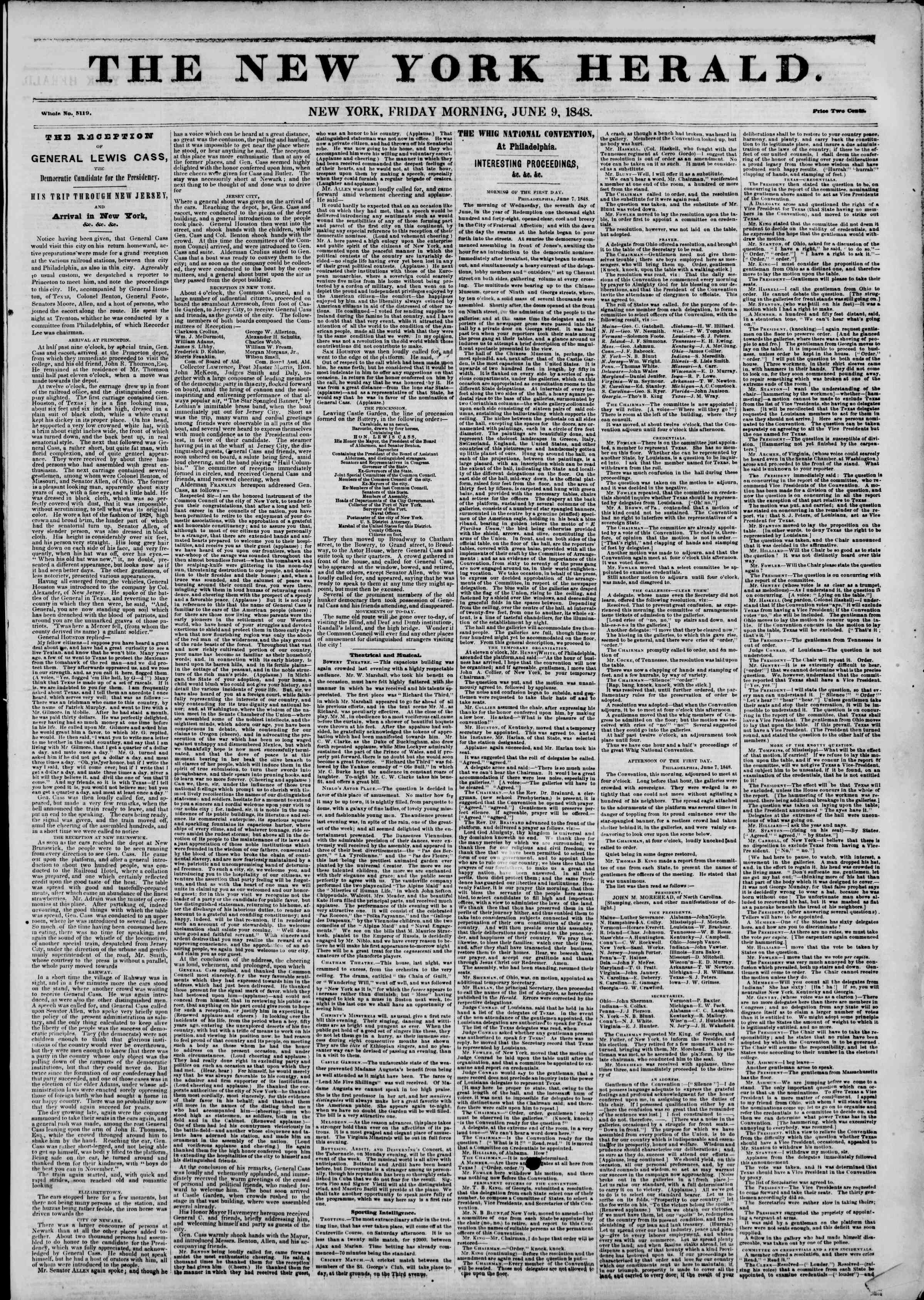 Newspaper of The New York Herald dated June 9, 1848 Page 1
