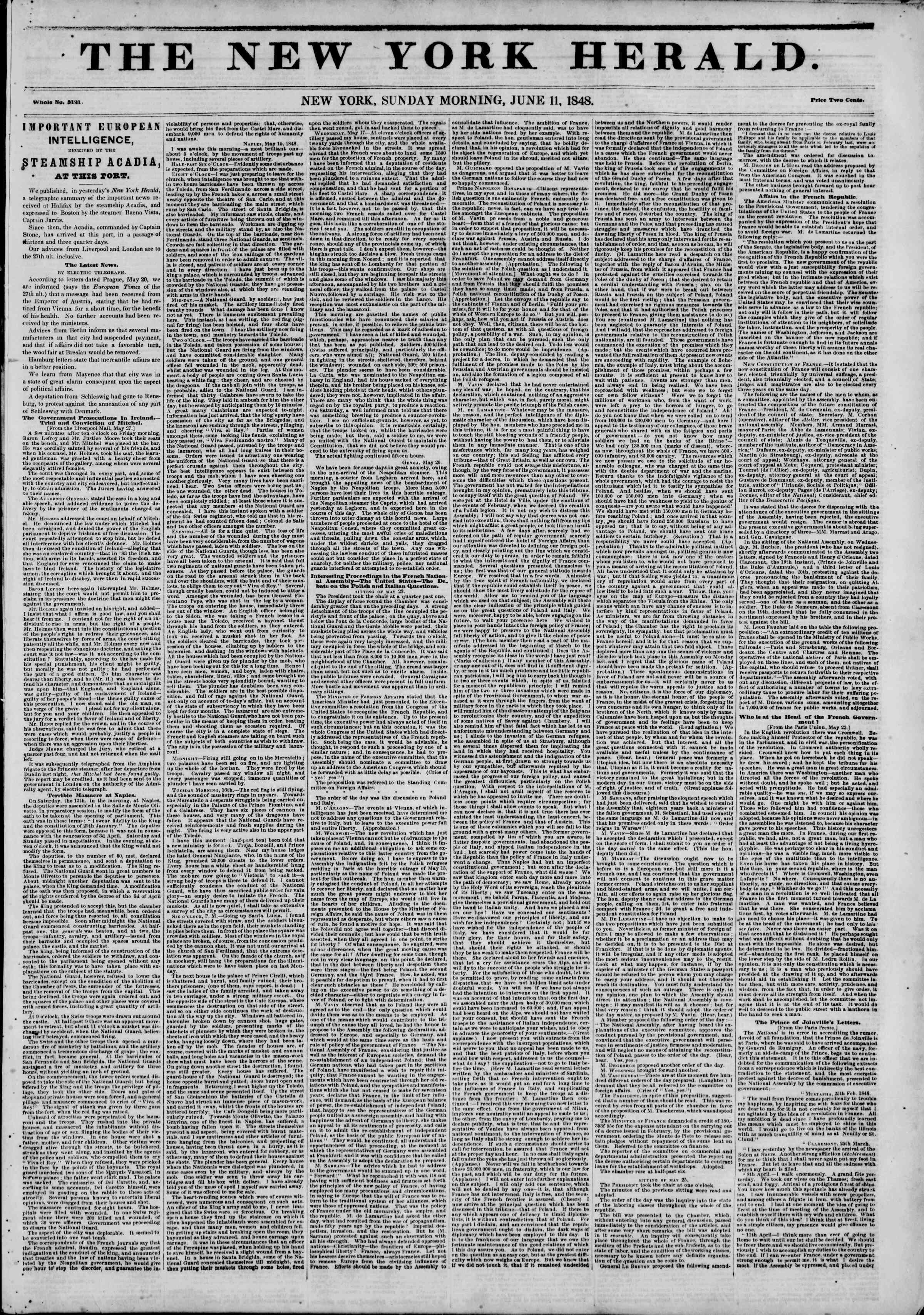 Newspaper of The New York Herald dated June 11, 1848 Page 1