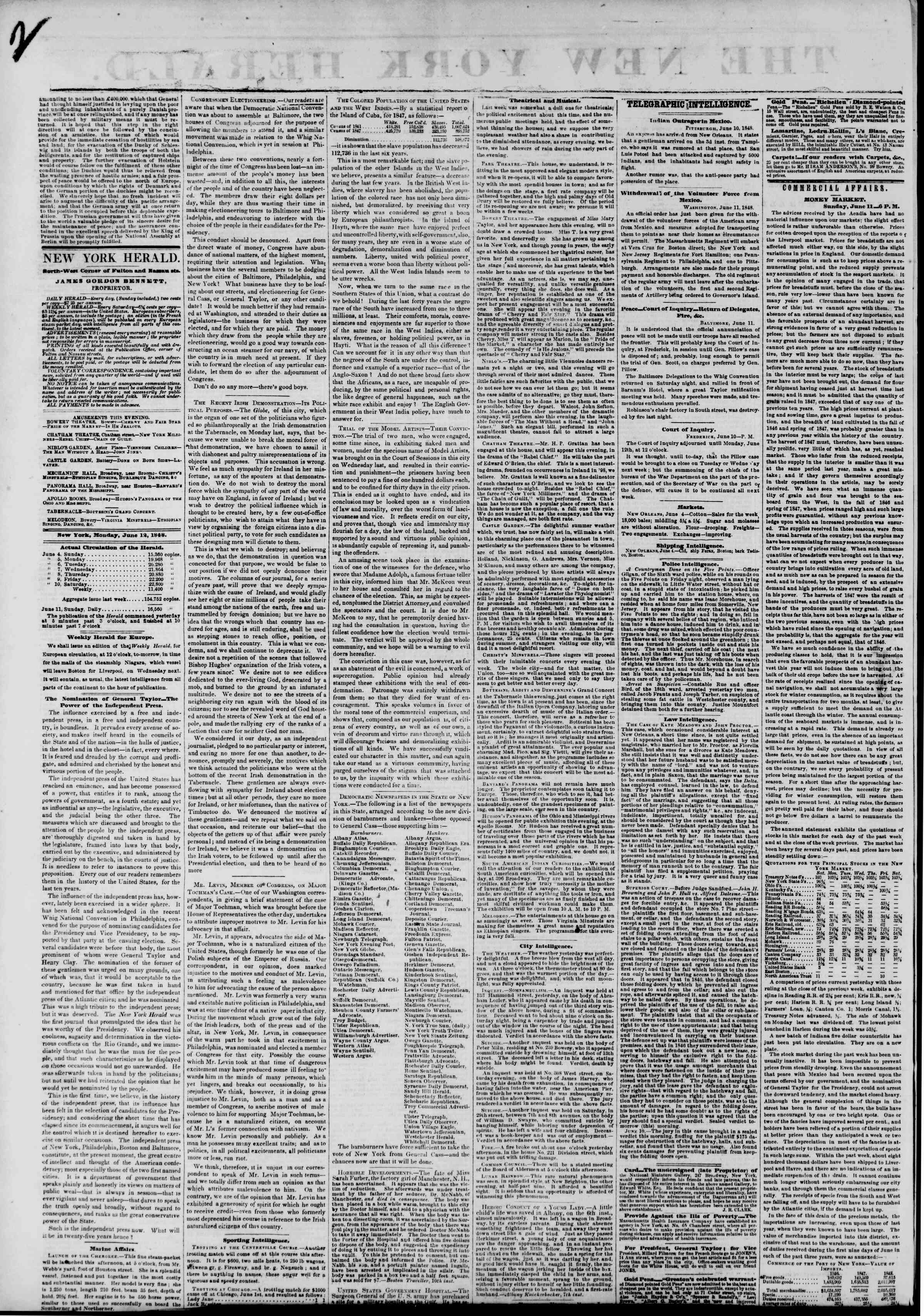 Newspaper of The New York Herald dated June 12, 1848 Page 2
