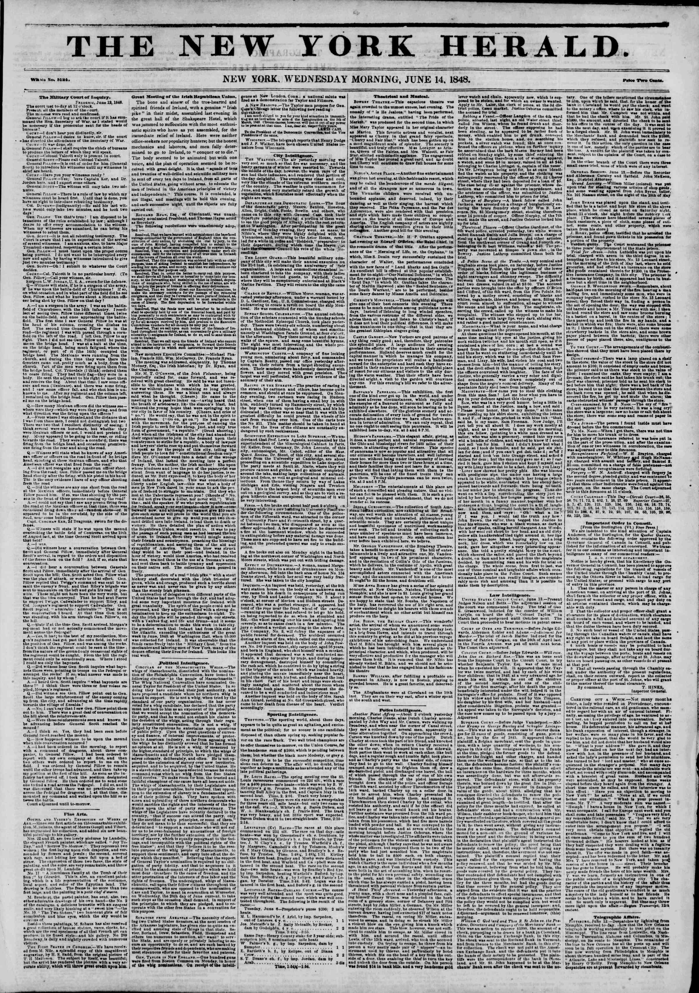 Newspaper of The New York Herald dated June 14, 1848 Page 1