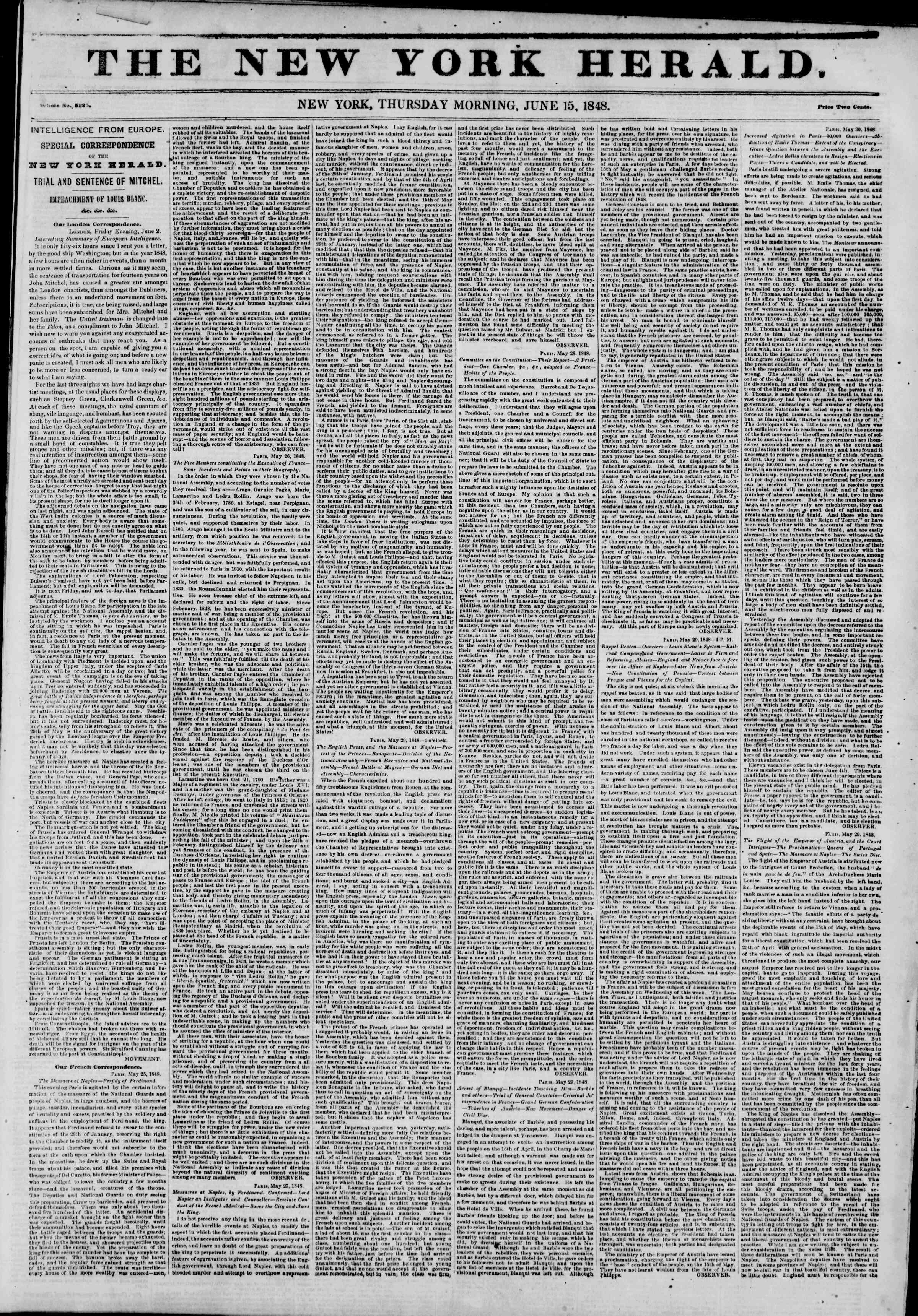 Newspaper of The New York Herald dated June 15, 1848 Page 1