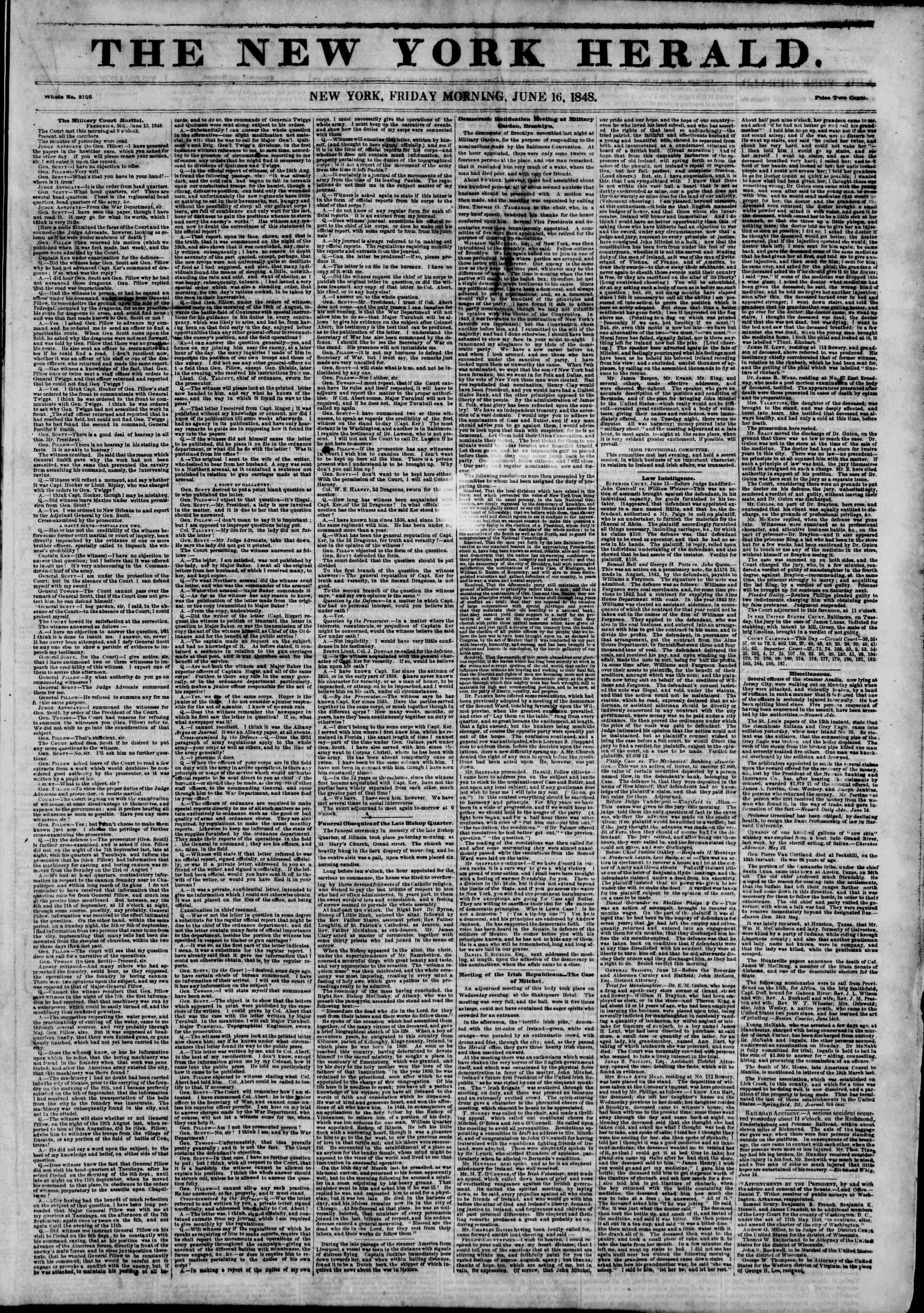 Newspaper of The New York Herald dated June 16, 1848 Page 1