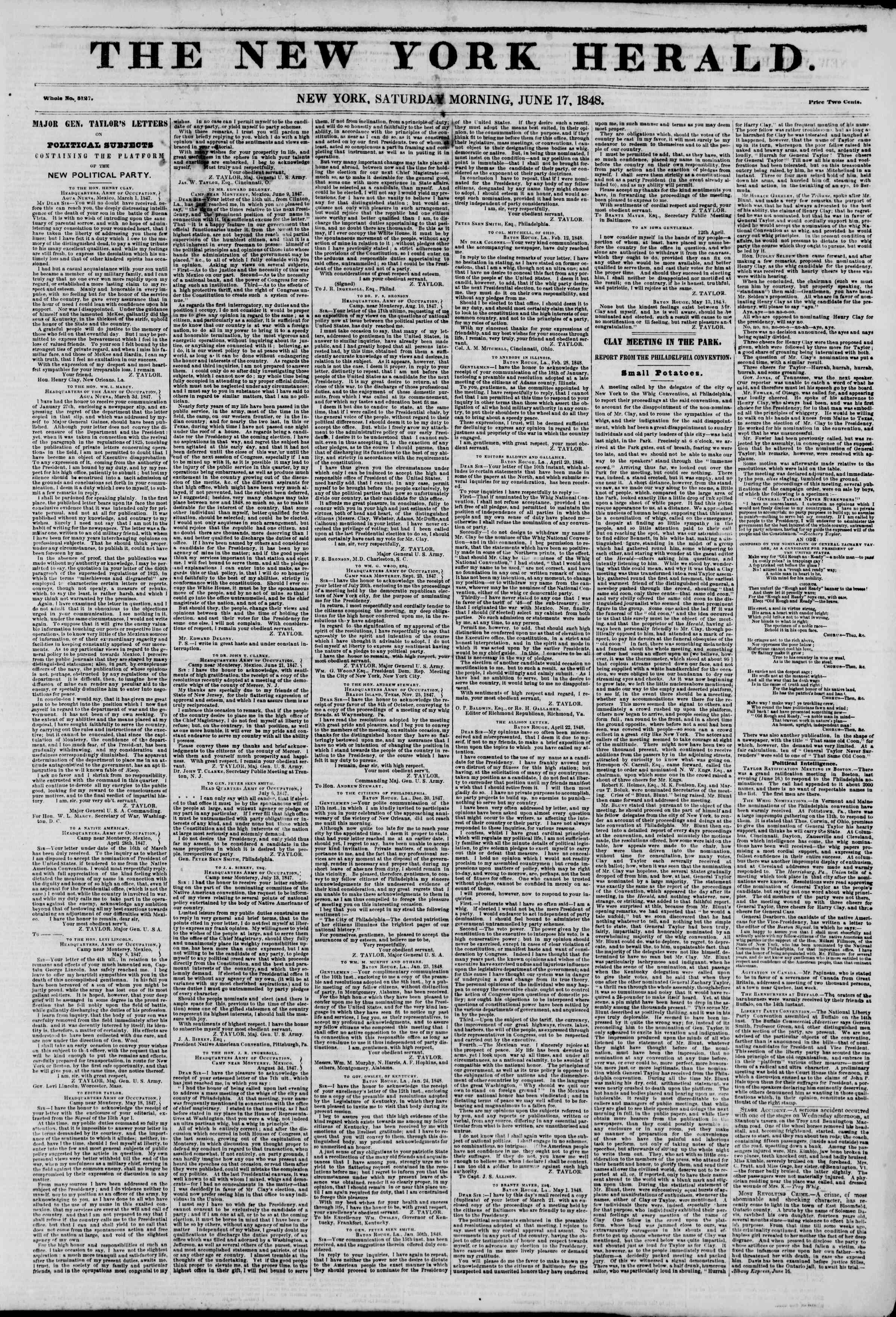 Newspaper of The New York Herald dated June 17, 1848 Page 1