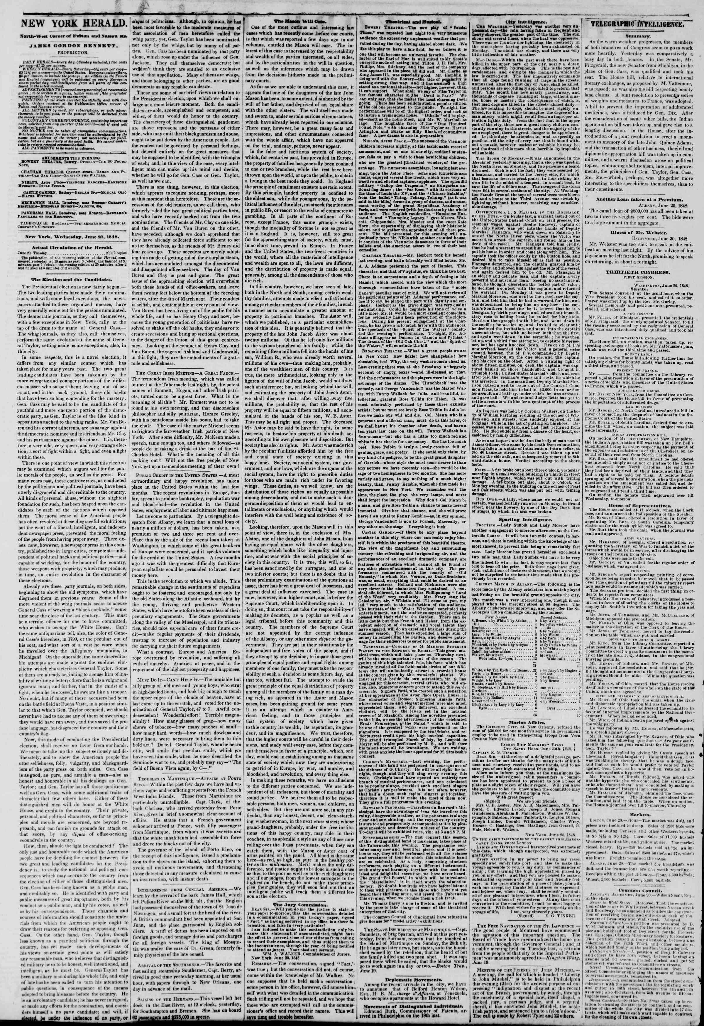 Newspaper of The New York Herald dated June 21, 1848 Page 2