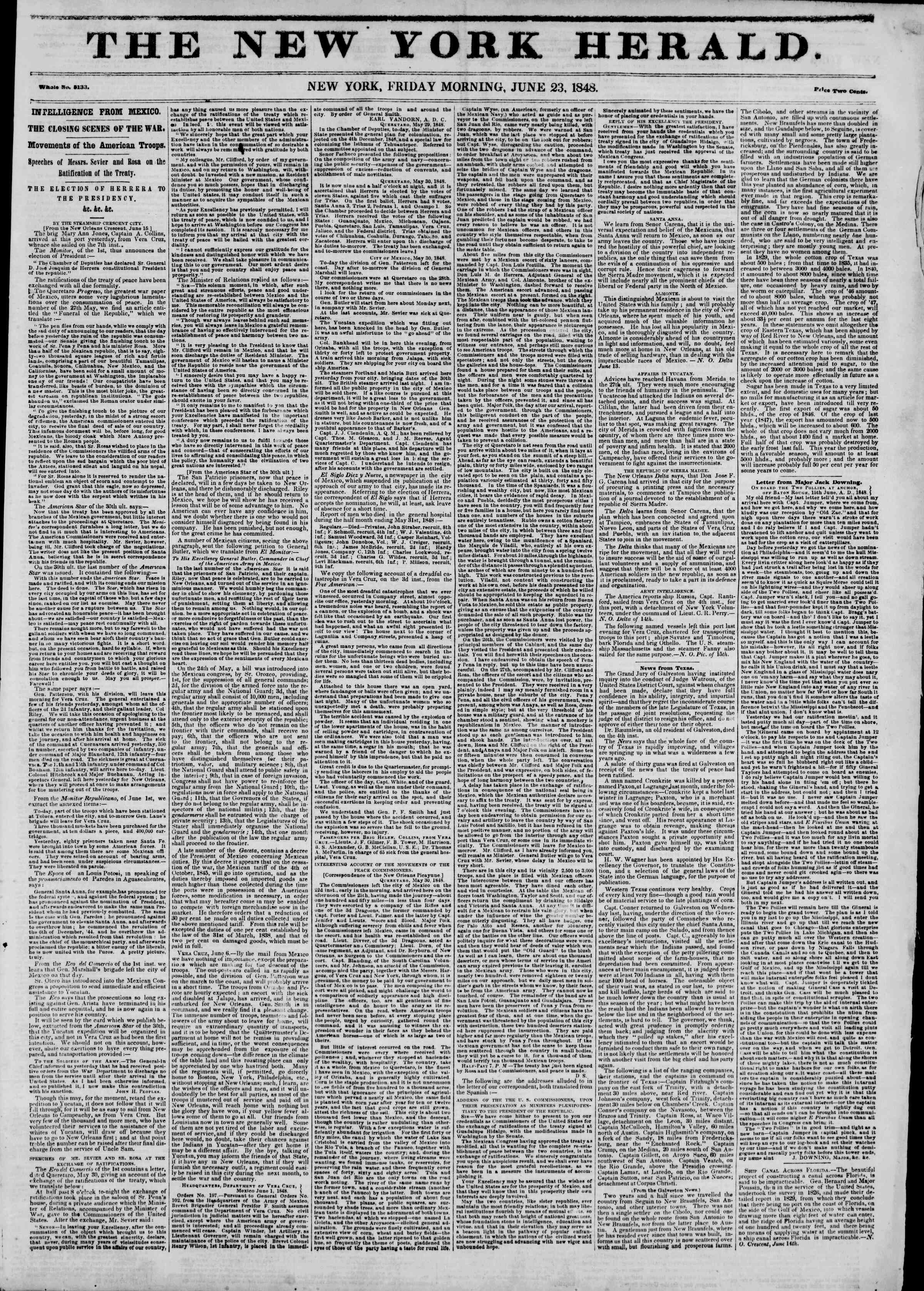 Newspaper of The New York Herald dated June 23, 1848 Page 1