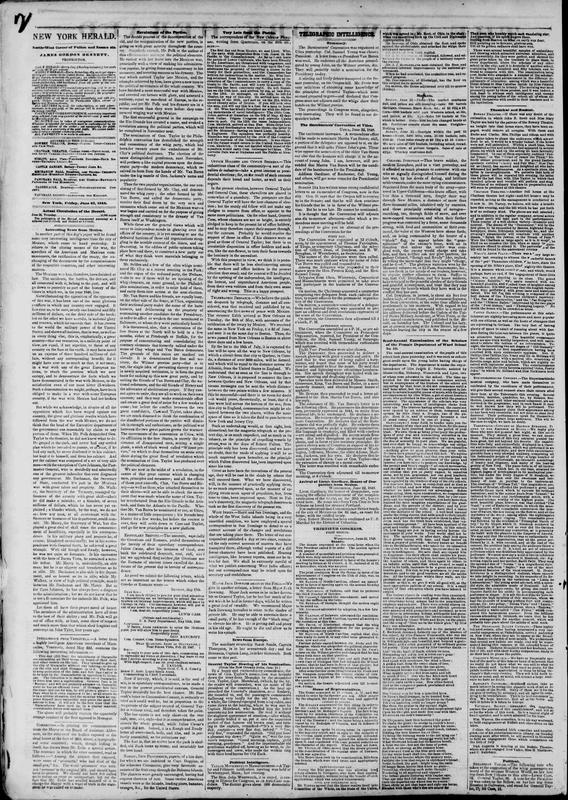 Newspaper of The New York Herald dated June 23, 1848 Page 2