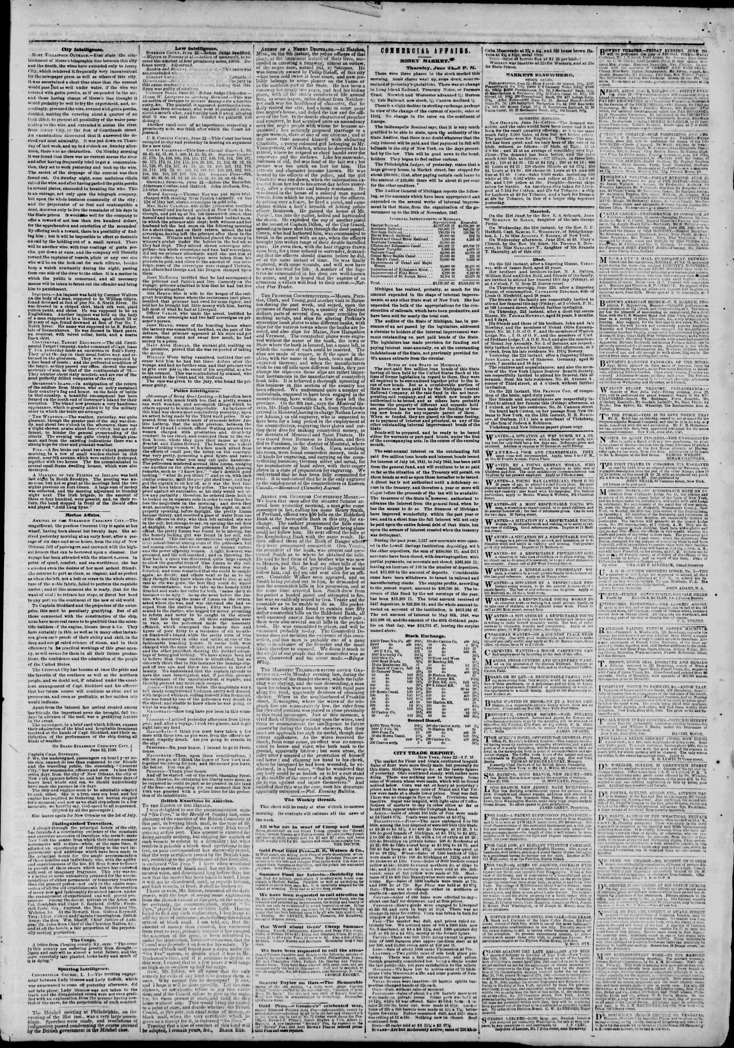 Newspaper of The New York Herald dated June 23, 1848 Page 3