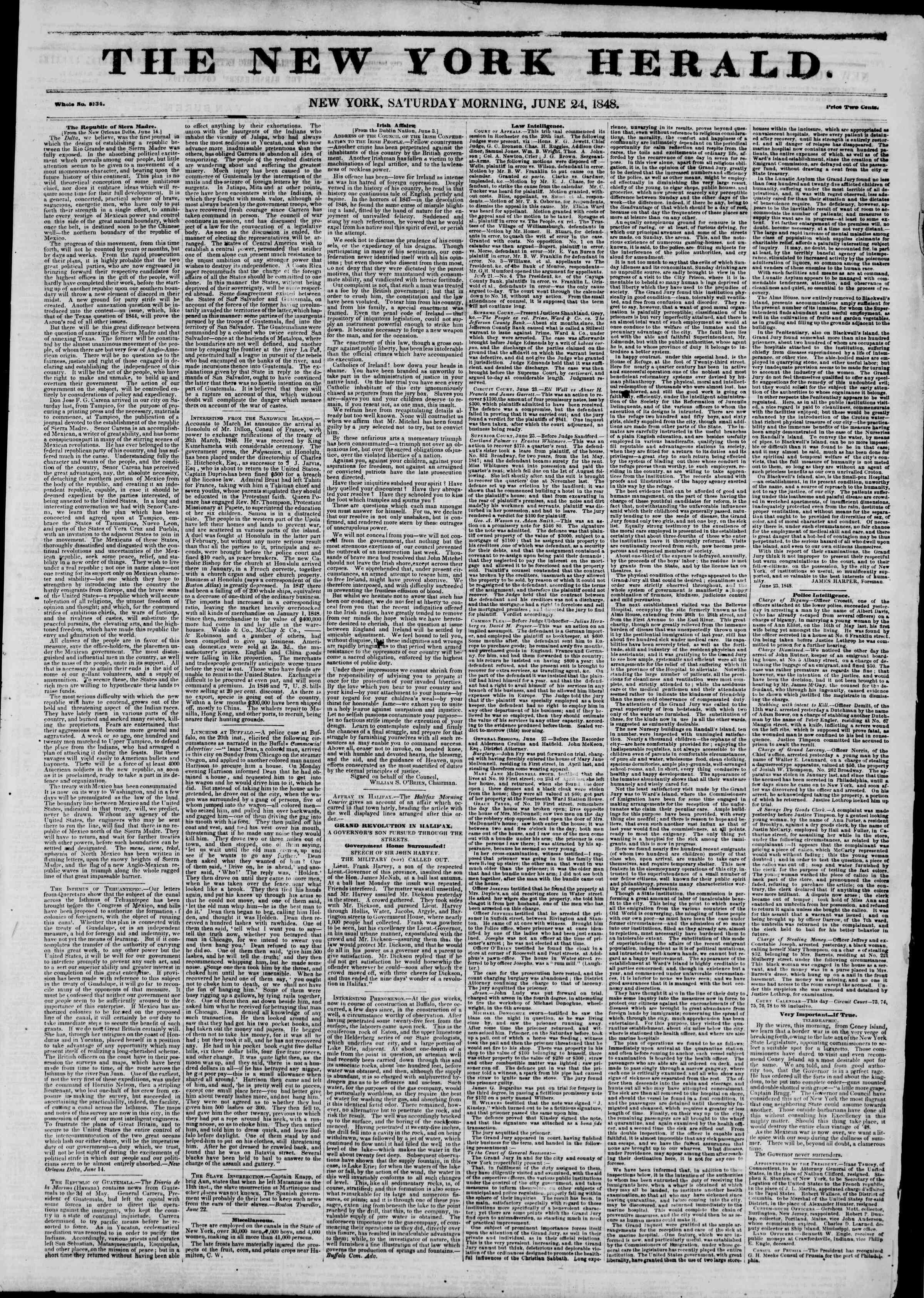 Newspaper of The New York Herald dated June 24, 1848 Page 1