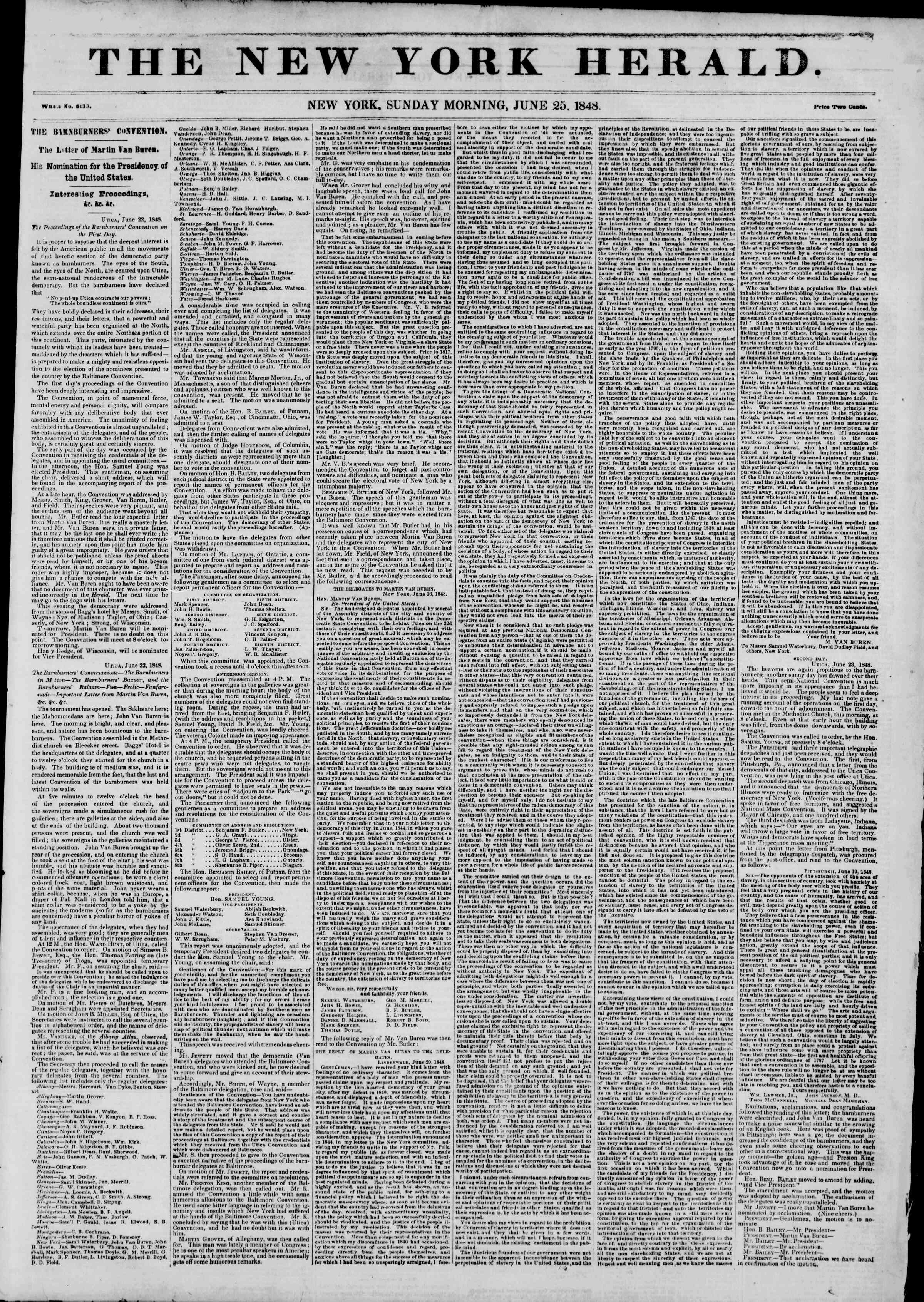 Newspaper of The New York Herald dated June 25, 1848 Page 1