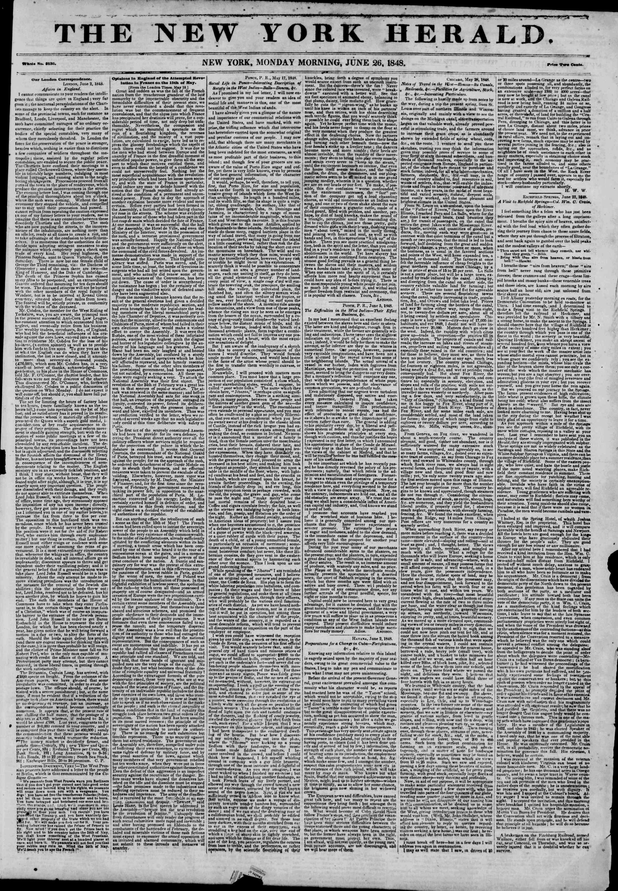Newspaper of The New York Herald dated June 26, 1848 Page 1