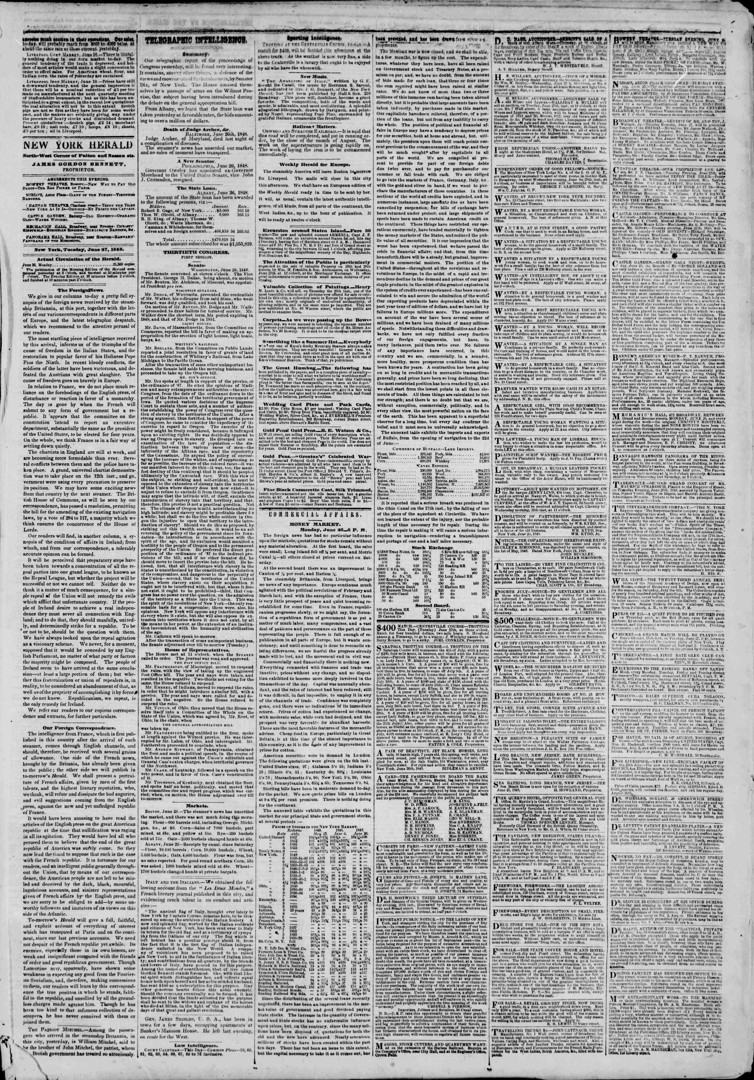 Newspaper of The New York Herald dated June 27, 1848 Page 3