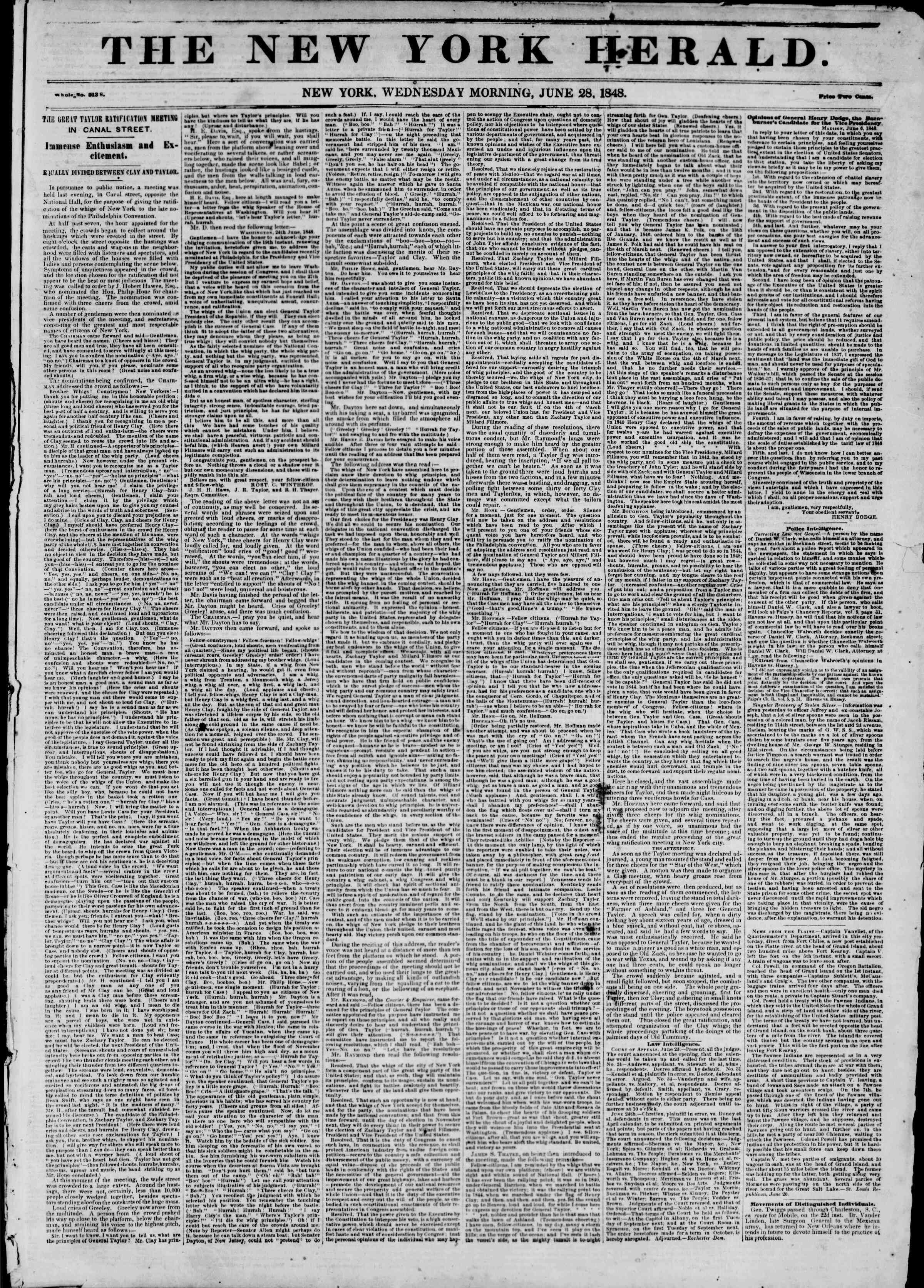 Newspaper of The New York Herald dated June 28, 1848 Page 1
