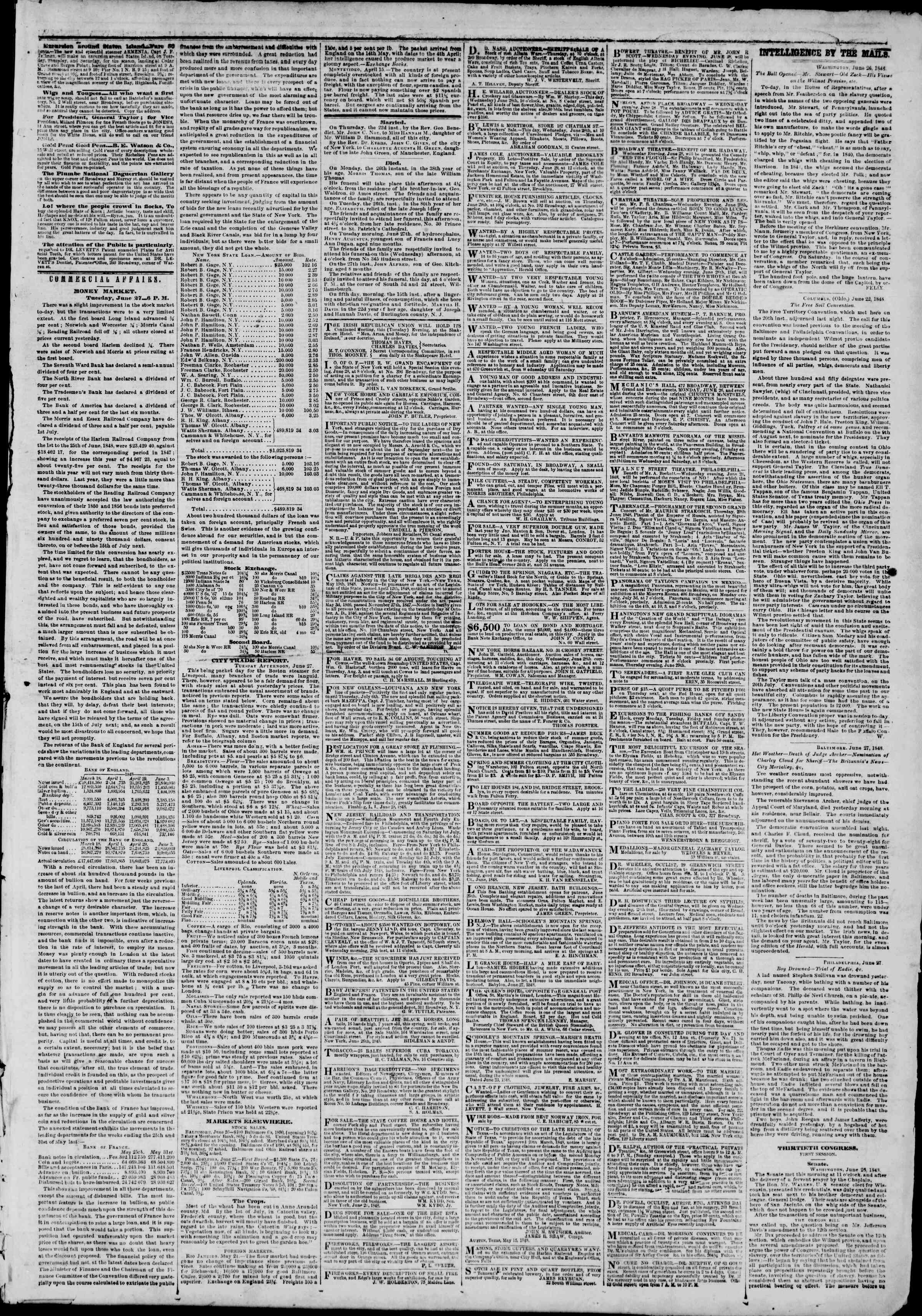 Newspaper of The New York Herald dated June 28, 1848 Page 3