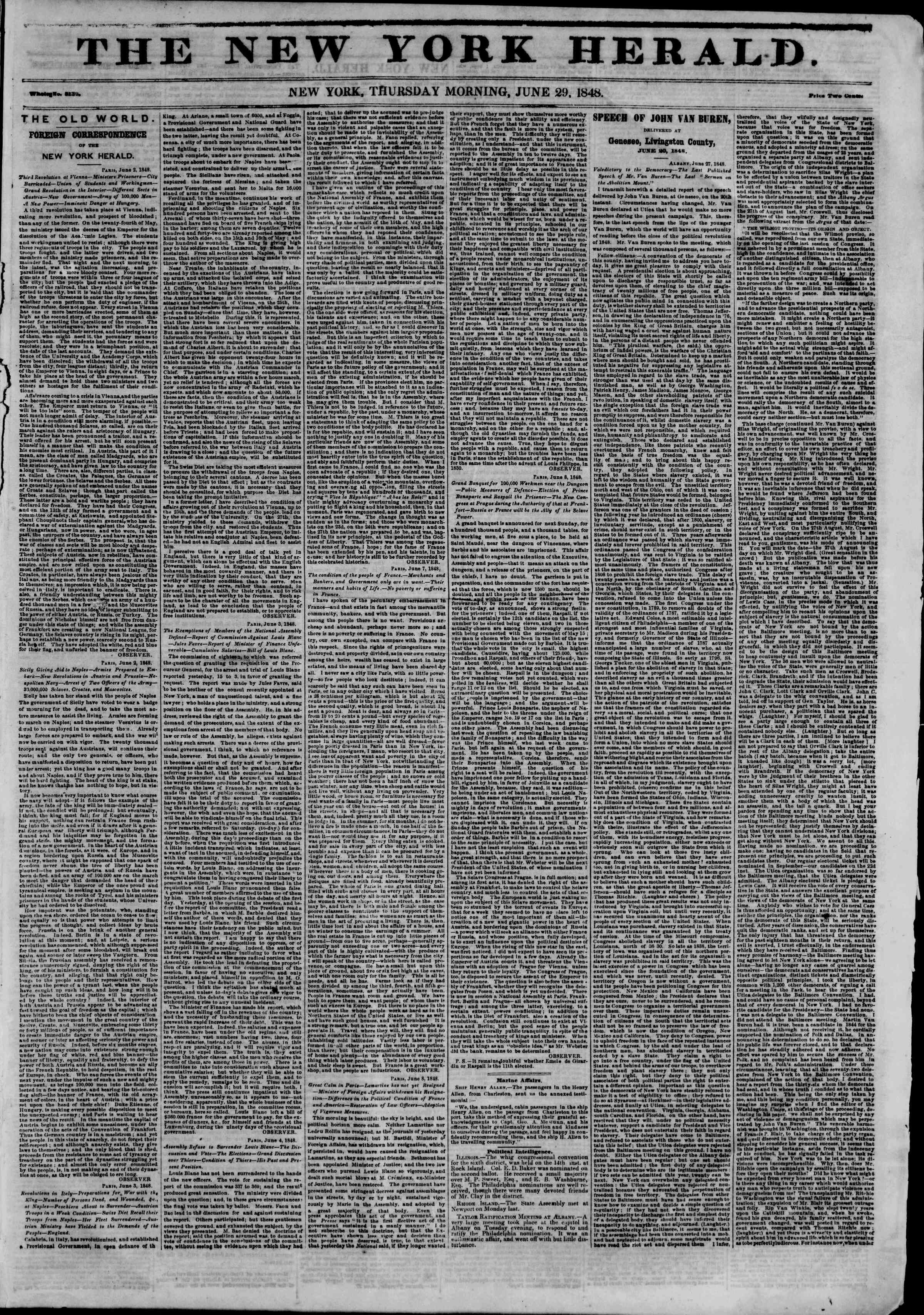 Newspaper of The New York Herald dated June 29, 1848 Page 1