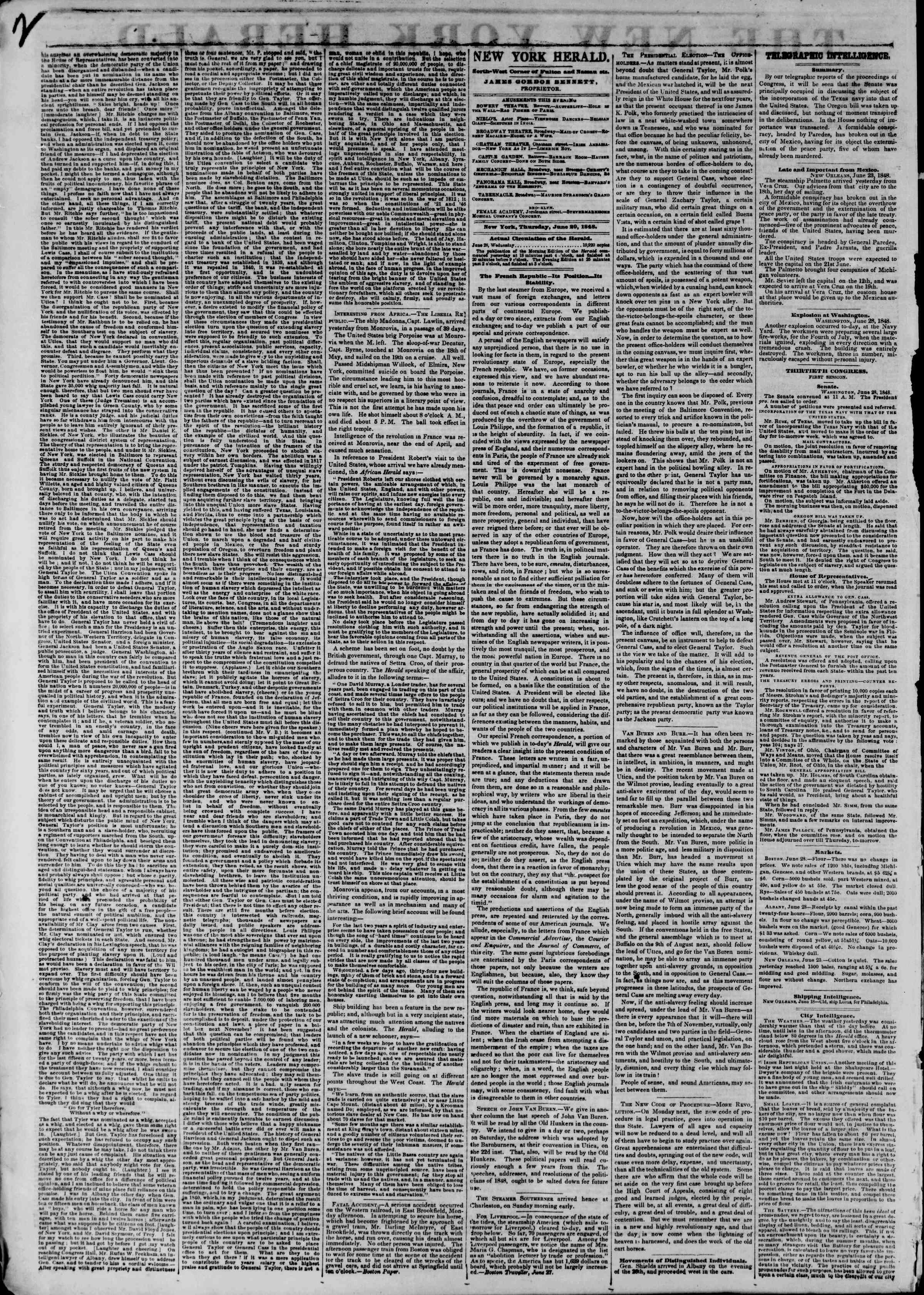 Newspaper of The New York Herald dated June 29, 1848 Page 2