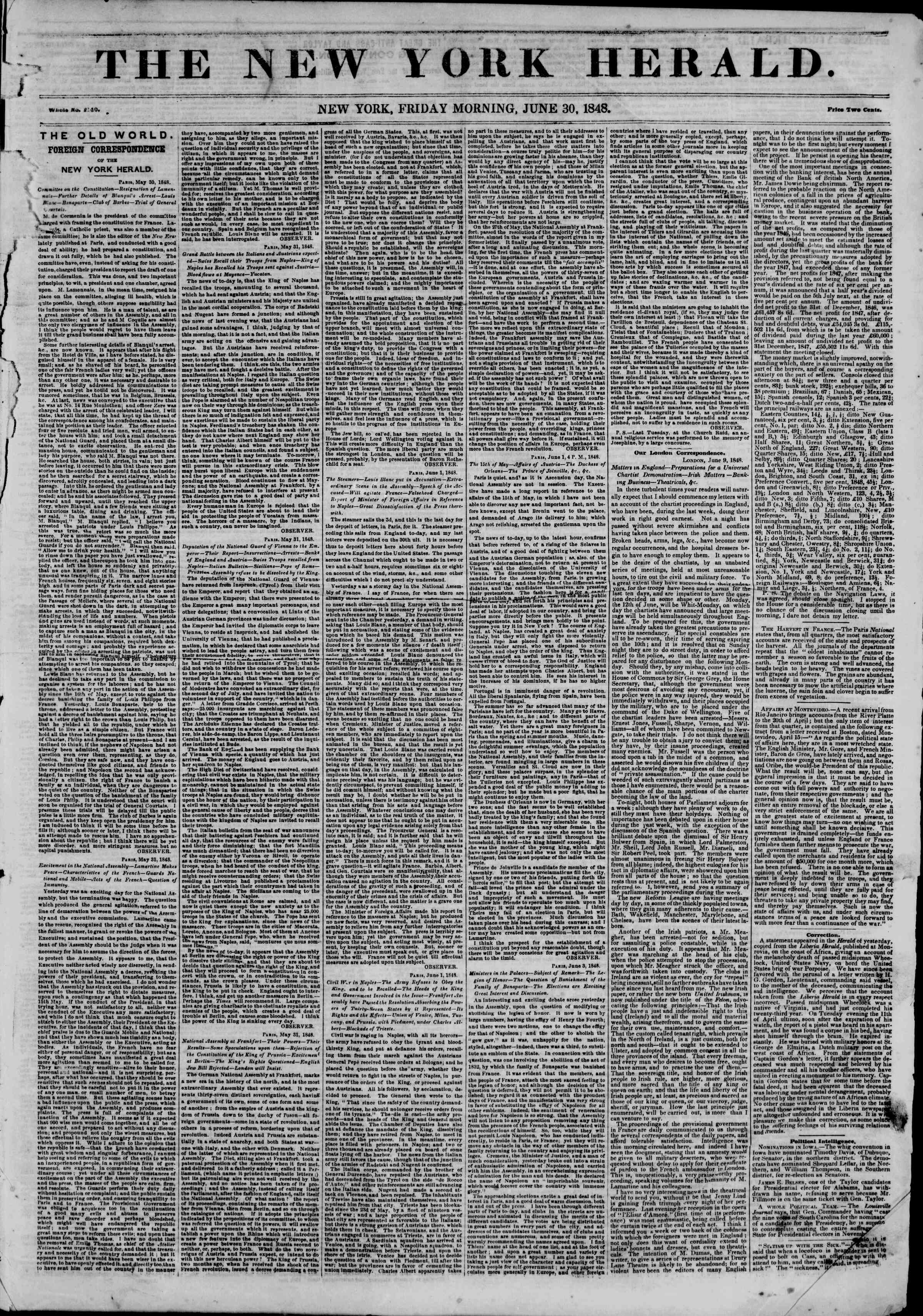 Newspaper of The New York Herald dated June 30, 1848 Page 1