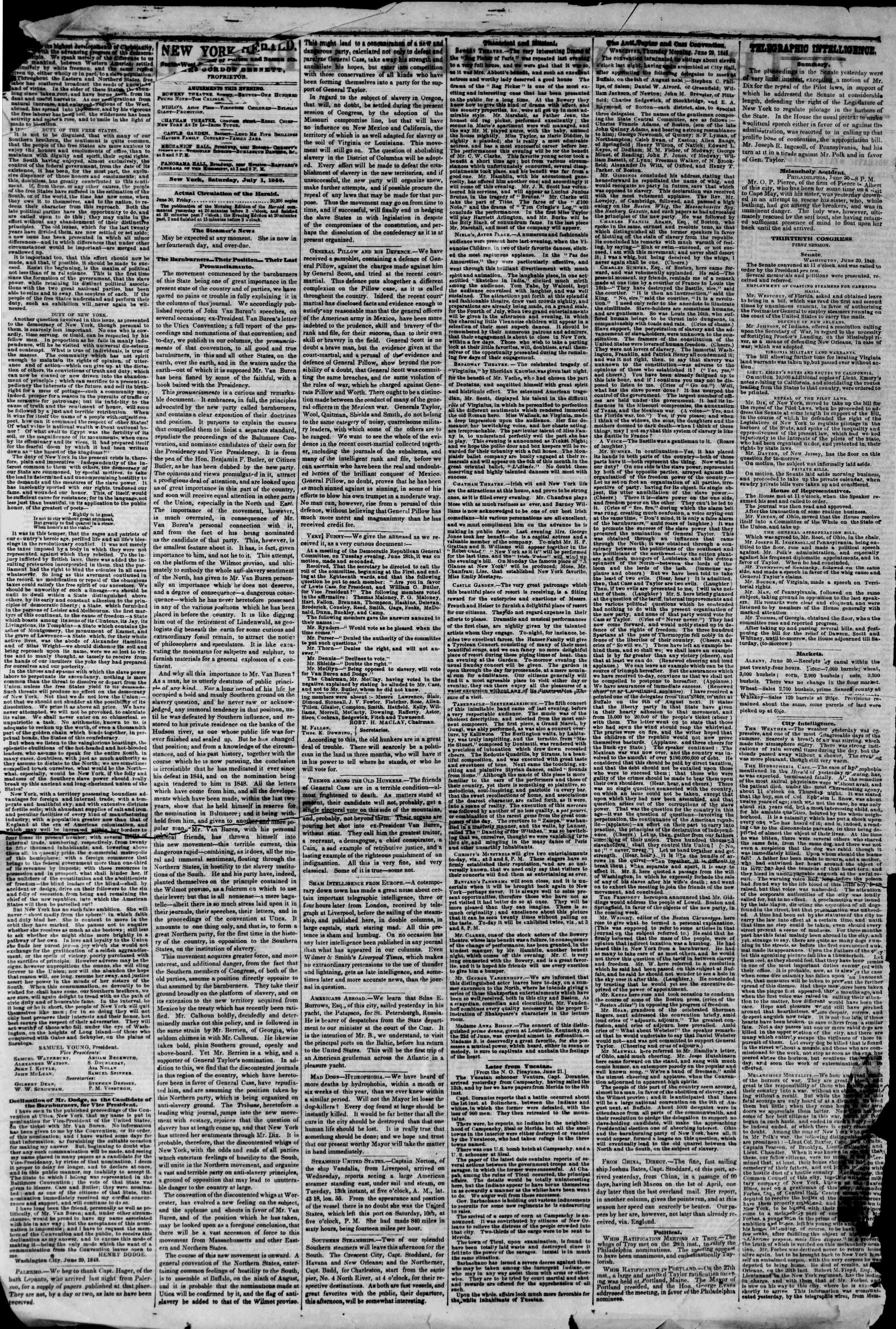 Newspaper of The New York Herald dated July 1, 1848 Page 2